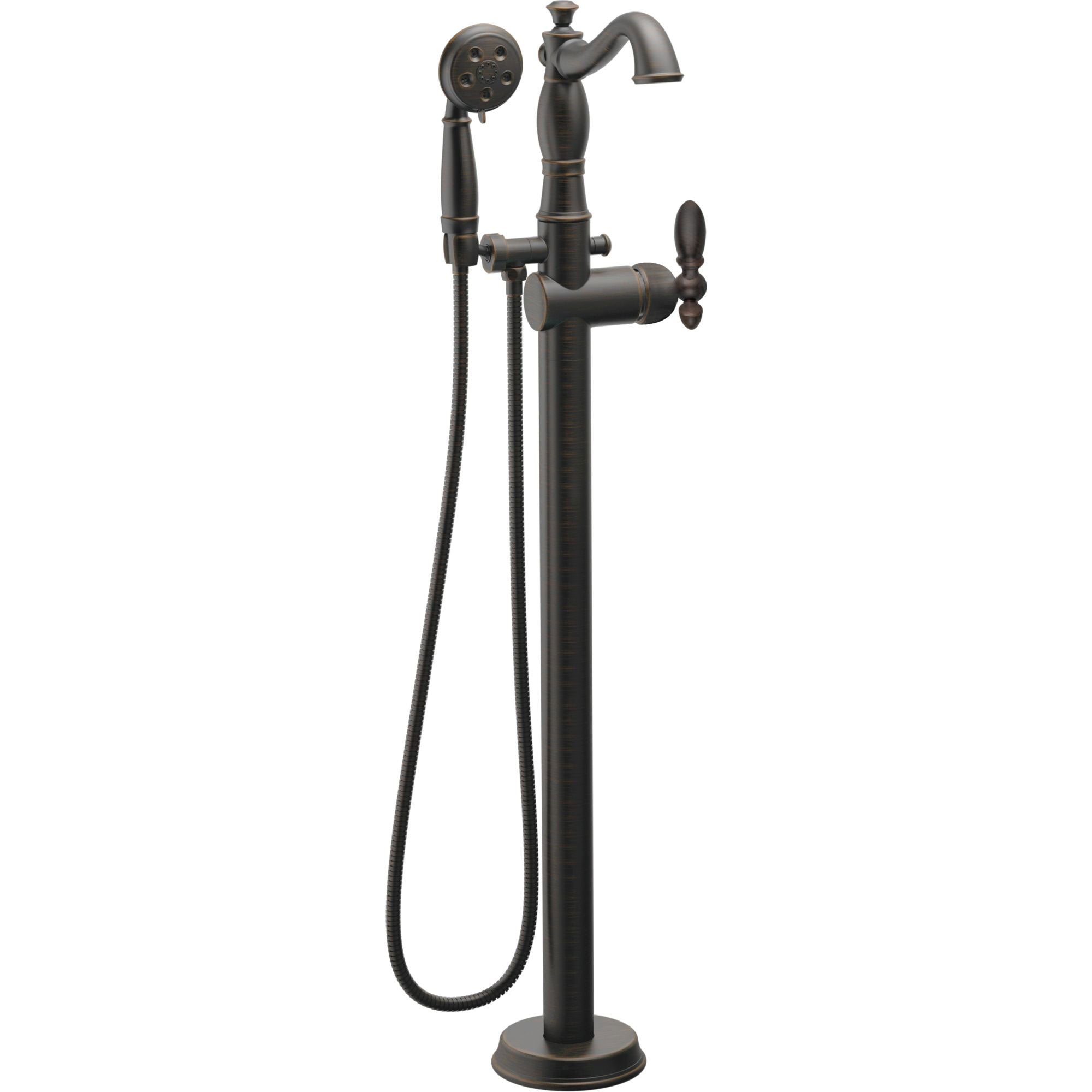Delta Traditional Venetian Bronze Floor Mount Tub Filler Faucet with Hand Shower Spray INCLUDES Valve and Metal Lever Handle D1058V