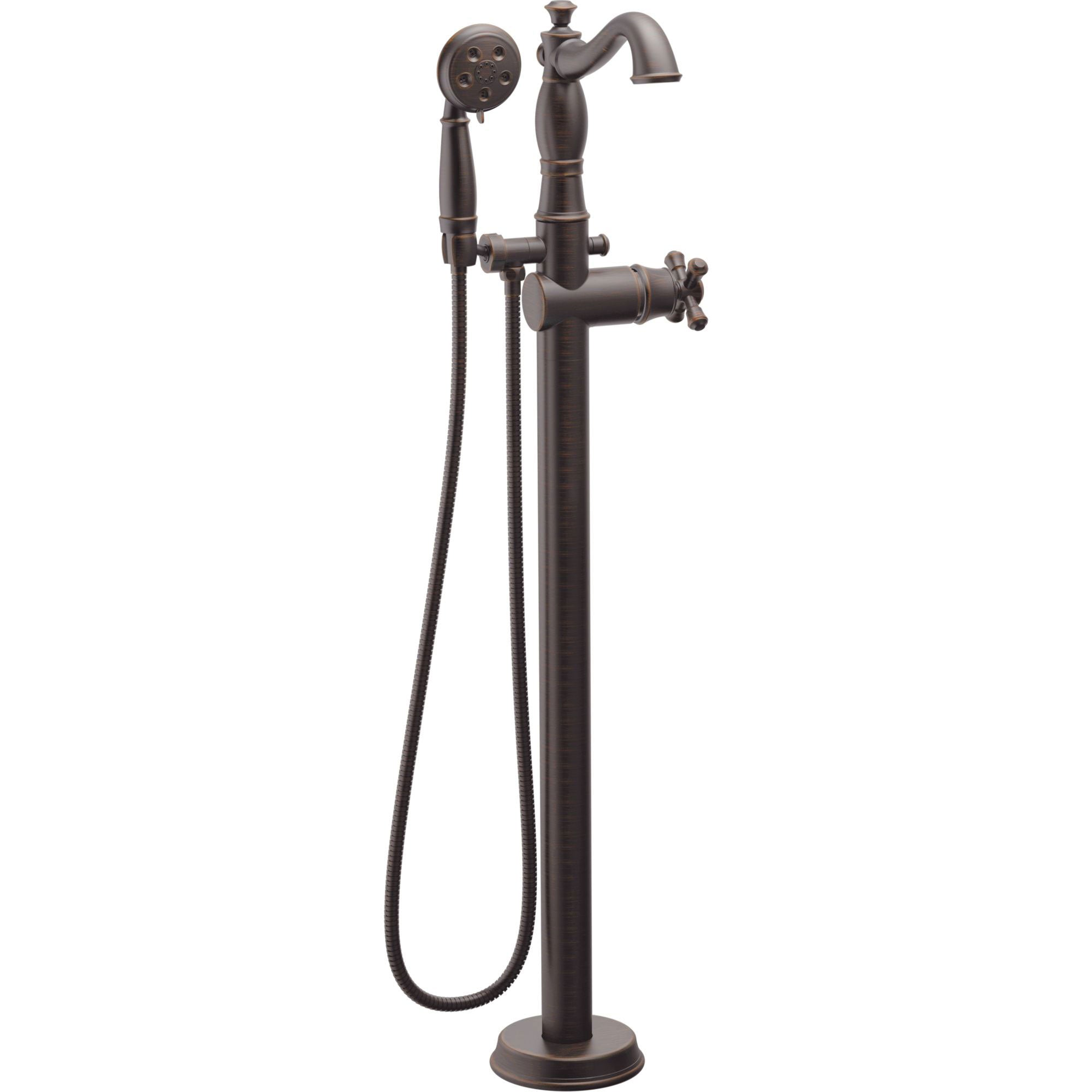 Delta Traditional Venetian Bronze Floor Mount Tub Filler Faucet with Hand Shower Spray INCLUDES Valve and Metal Cross Handle D1059V