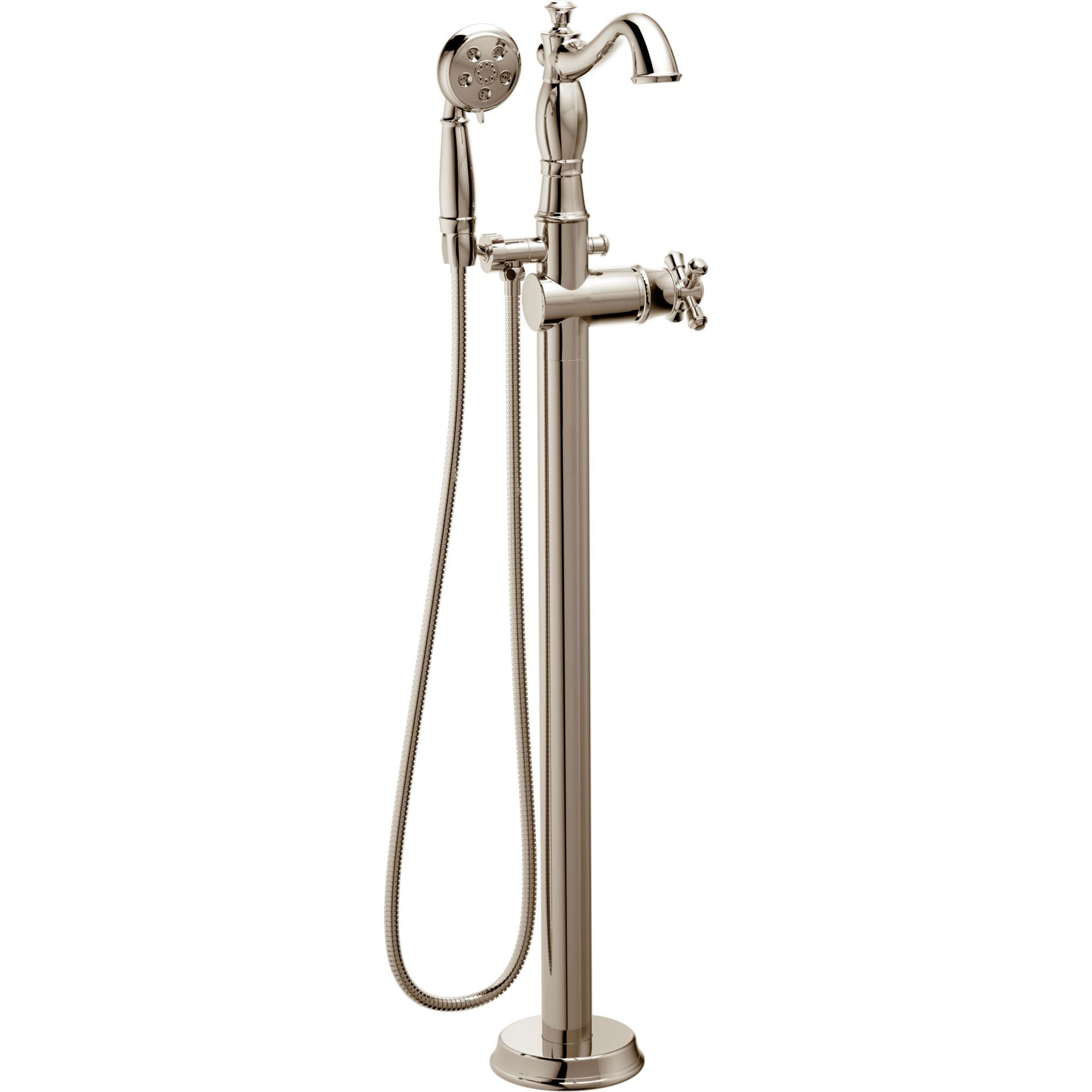 Delta Traditional Polished Nickel Floor Mount Tub Filler Faucet with Hand Shower Spray INCLUDES Valve and Metal Cross Handle D1062V