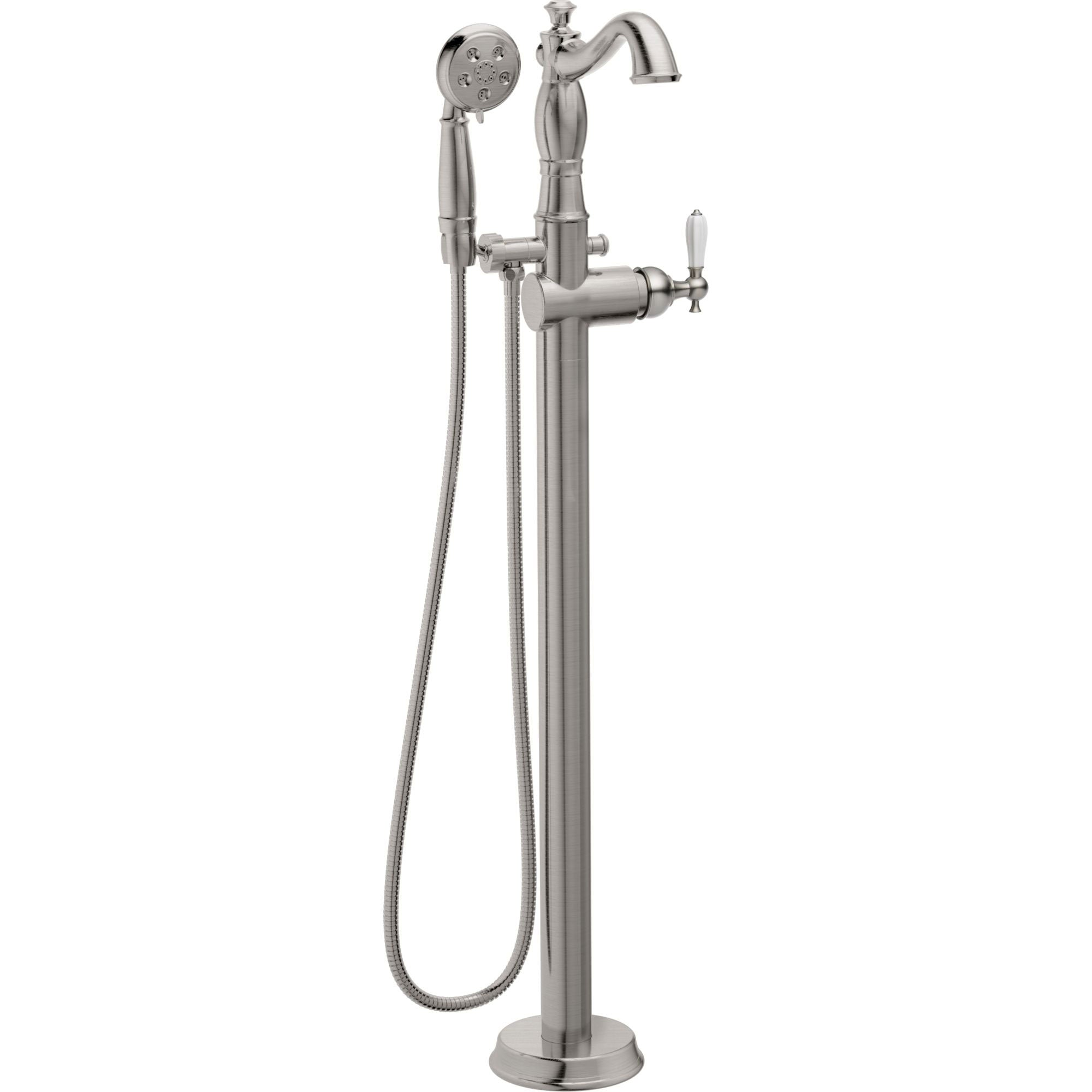 Delta Traditional Stainless Steel Finish Floor Mount Tub Filler Faucet with Hand Shower Spray INCLUDES Valve and Porcelain Lever Handle D1065V