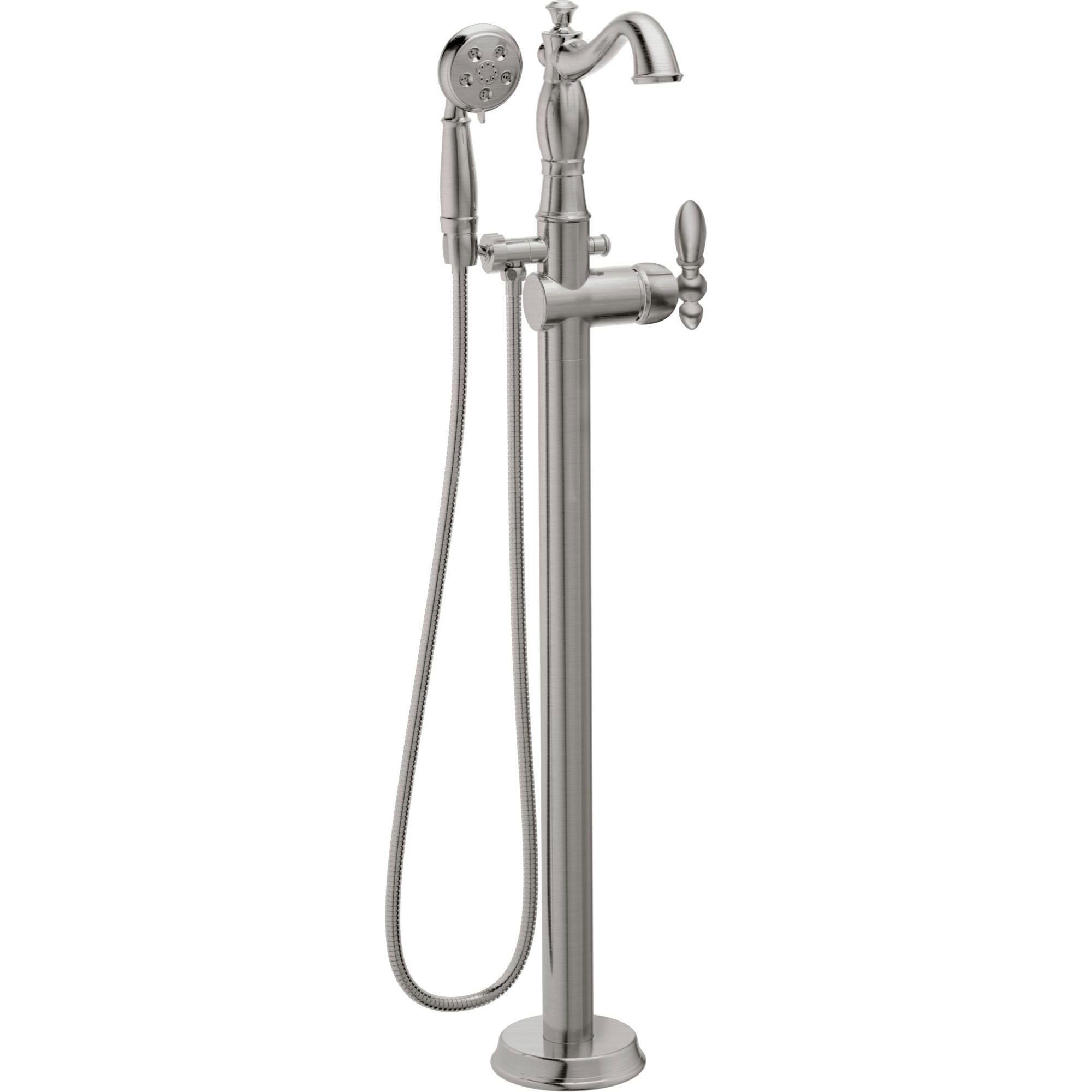 Delta Traditional Stainless Steel Finish Floor Mount Tub Filler Faucet with Hand Shower Spray INCLUDES Valve and Metal Lever Handle D1066V