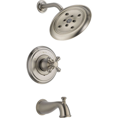Delta Cassidy Stainless Steel Finish 14 Series Tub and Shower Combination Faucet INCLUDES Rough-in Valve with Stops and Single Cross Handle D1159V