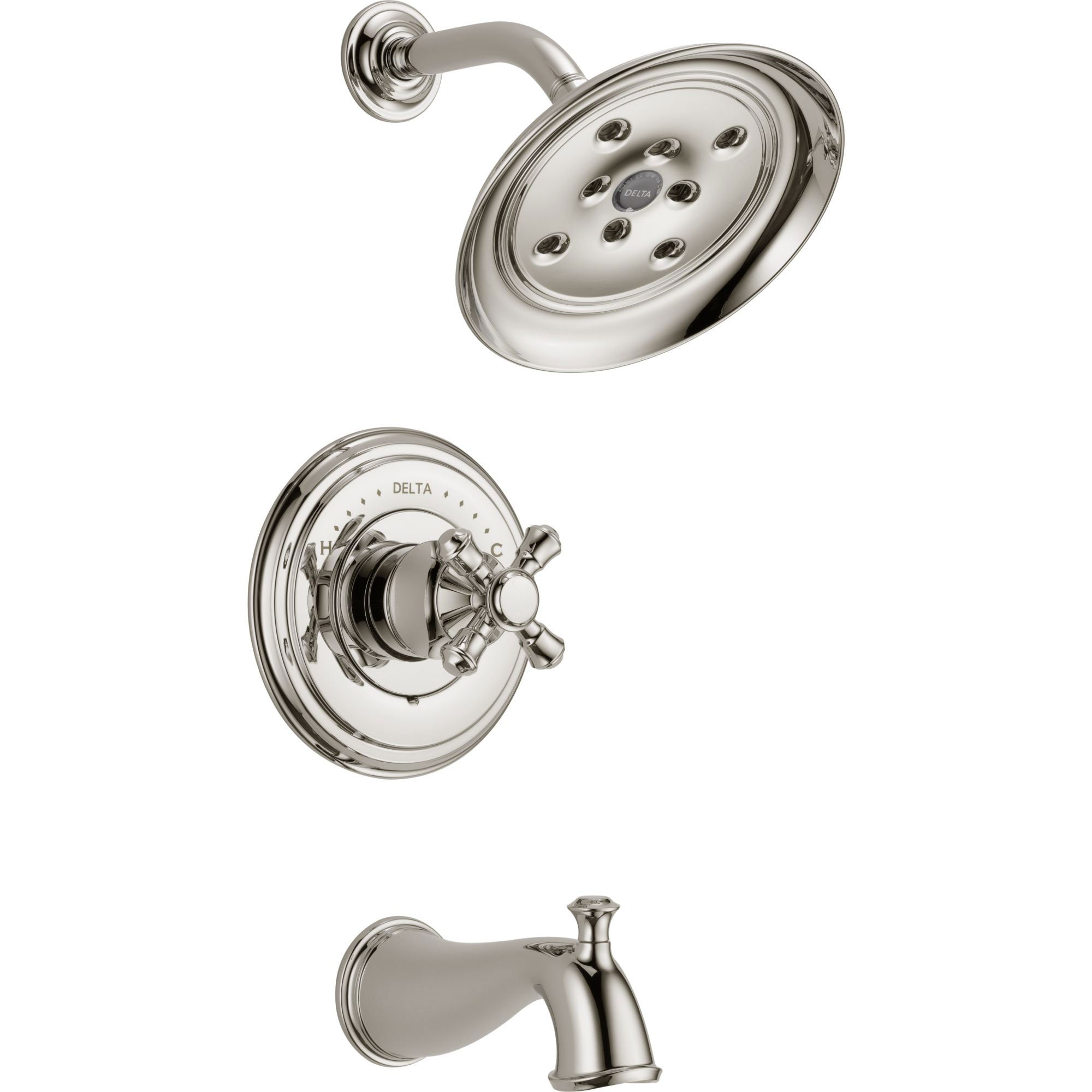 Delta Cassidy Polished Nickel Finish 14 Series Tub and Shower Combination Faucet INCLUDES Rough-in Valve with Stops and Single Cross Handle D1165V