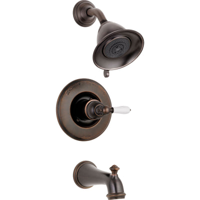 Delta Traditional Victorian Venetian Bronze Finish 14 Series Tub and Shower Faucet Combo INCLUDES Rough-in Valve and White Lever Handle D1180V