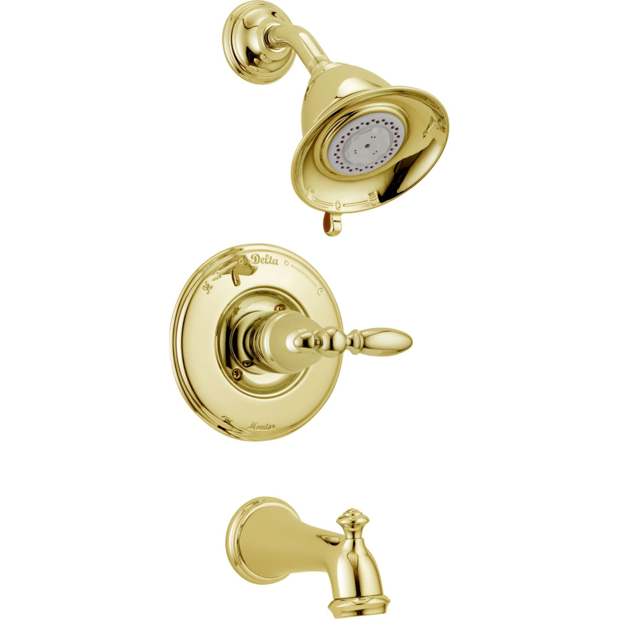 Delta Traditional Victorian Polished Brass Finish 14 Series Tub and Shower Faucet Combo INCLUDES Rough-in Valve with Stops and Single Lever Handle D1187V