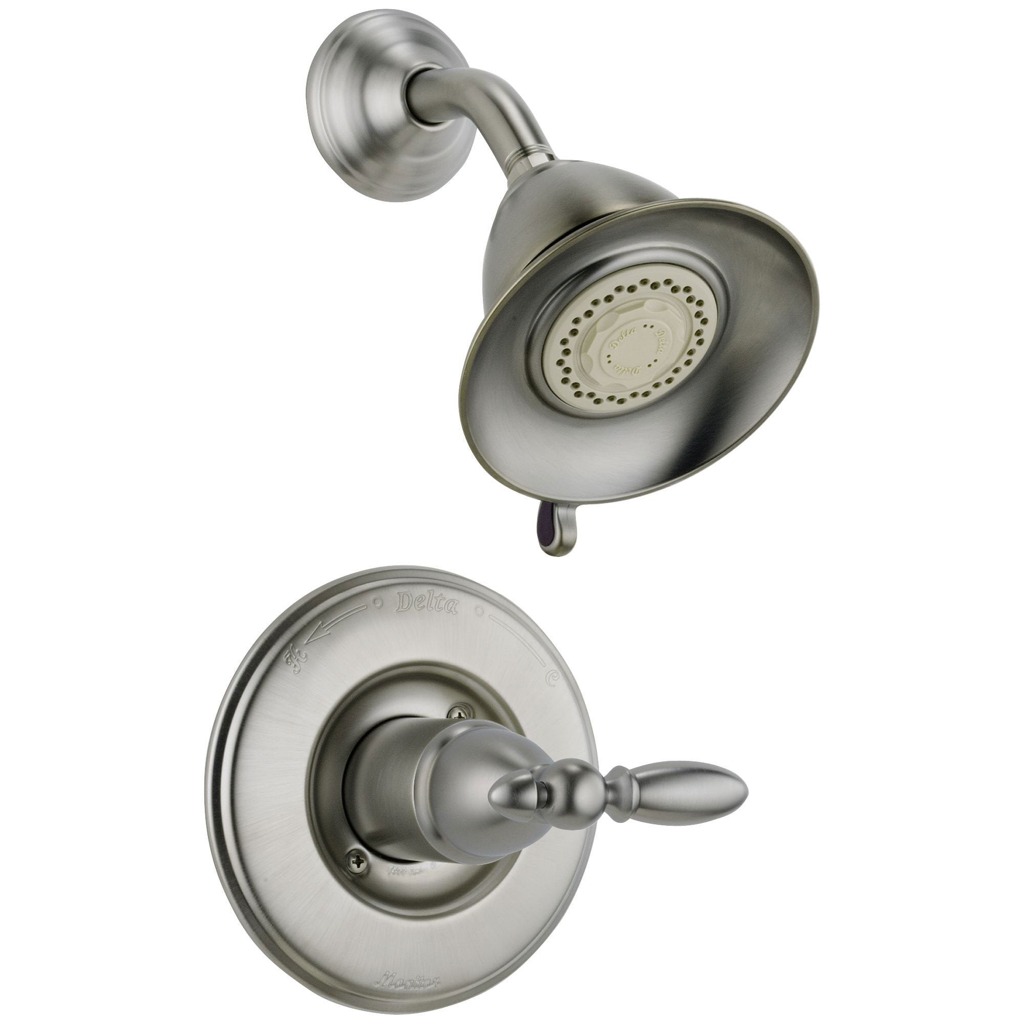 Delta Traditional Victorian Stainless Steel Finish 14 Series Shower Only Faucet INCLUDES Rough-in Valve with Stops and Single Lever Handle D1195V