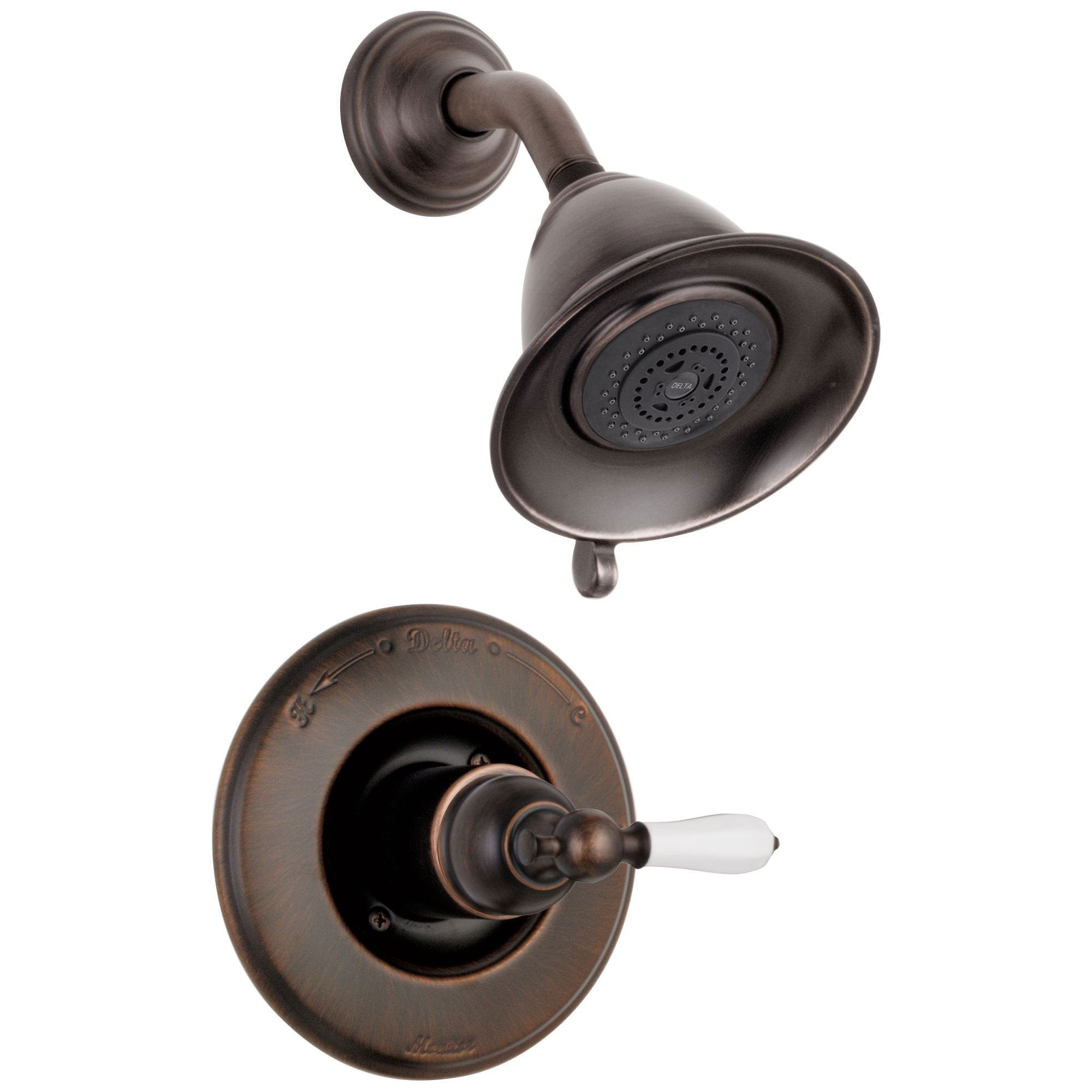 Delta Traditional Victorian Venetian Bronze Finish 14 Series Shower Only Faucet INCLUDES Rough-in Valve with Stops and White Lever Handle D1197V