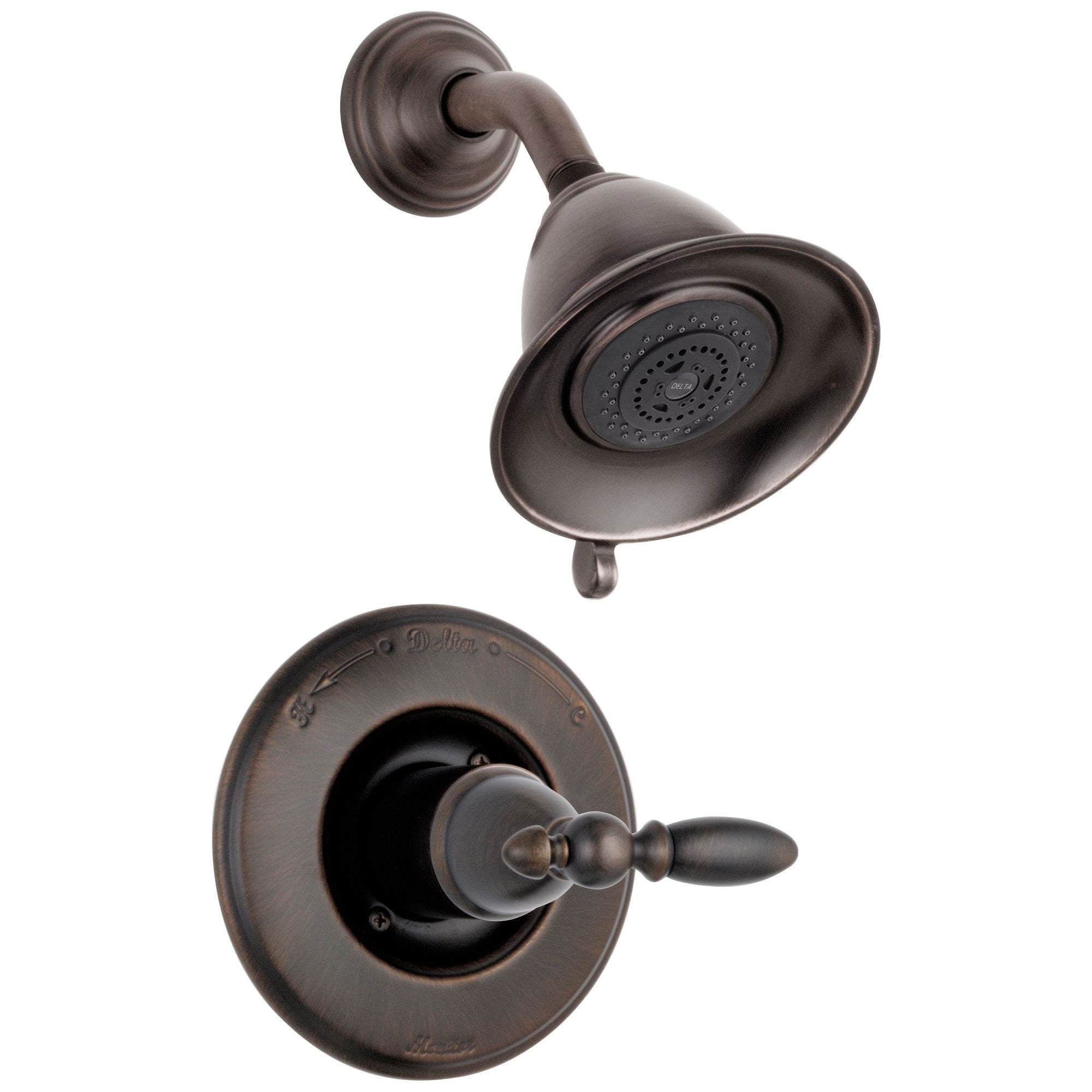 Delta Traditional Victorian Venetian Bronze Finish 14 Series Shower Only Faucet INCLUDES Rough-in Valve and Single Lever Handle D1198V
