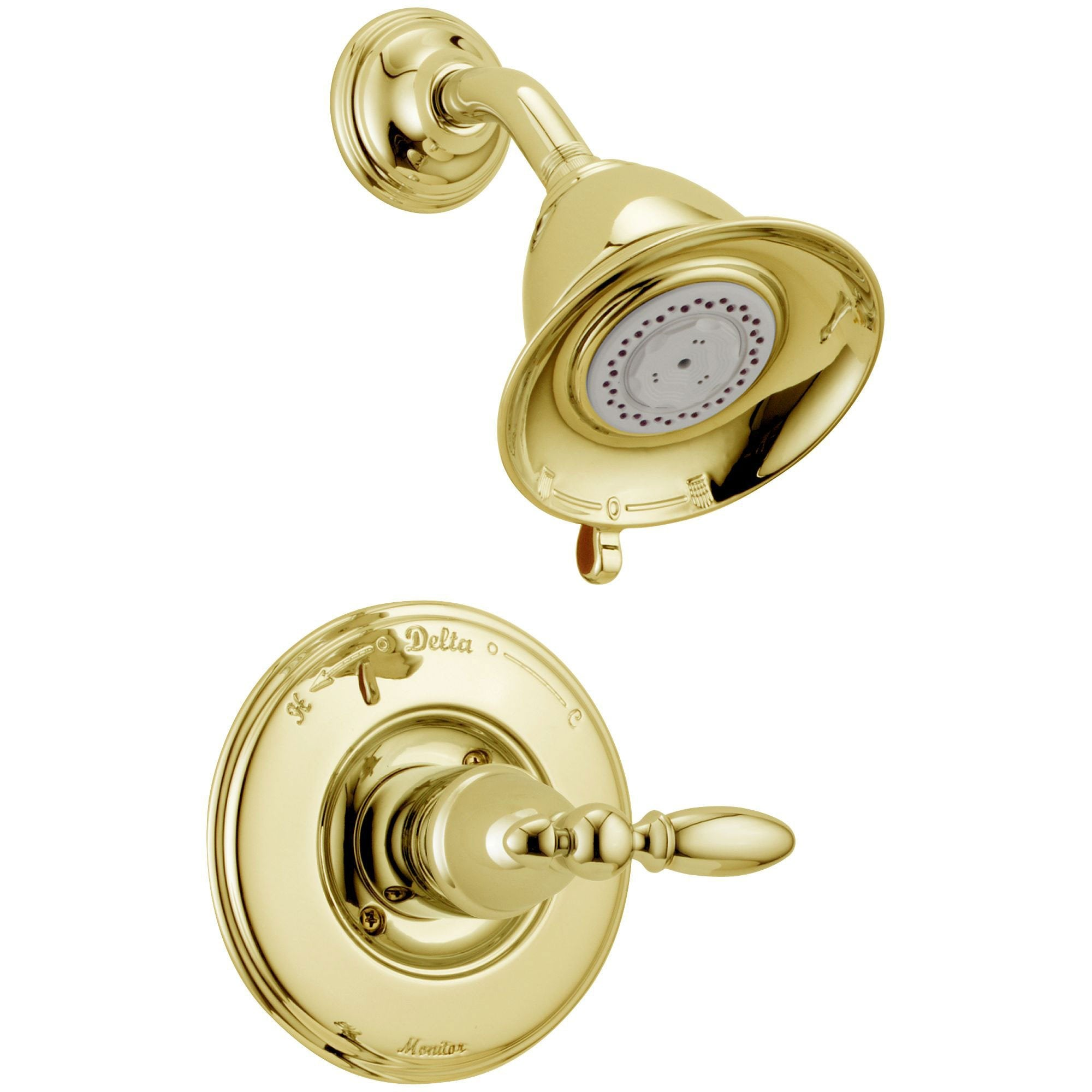 Delta Traditional Victorian Polished Brass Finish 14 Series Shower Only Faucet INCLUDES Rough-in Valve with Stops and Single Lever Handle D1203V