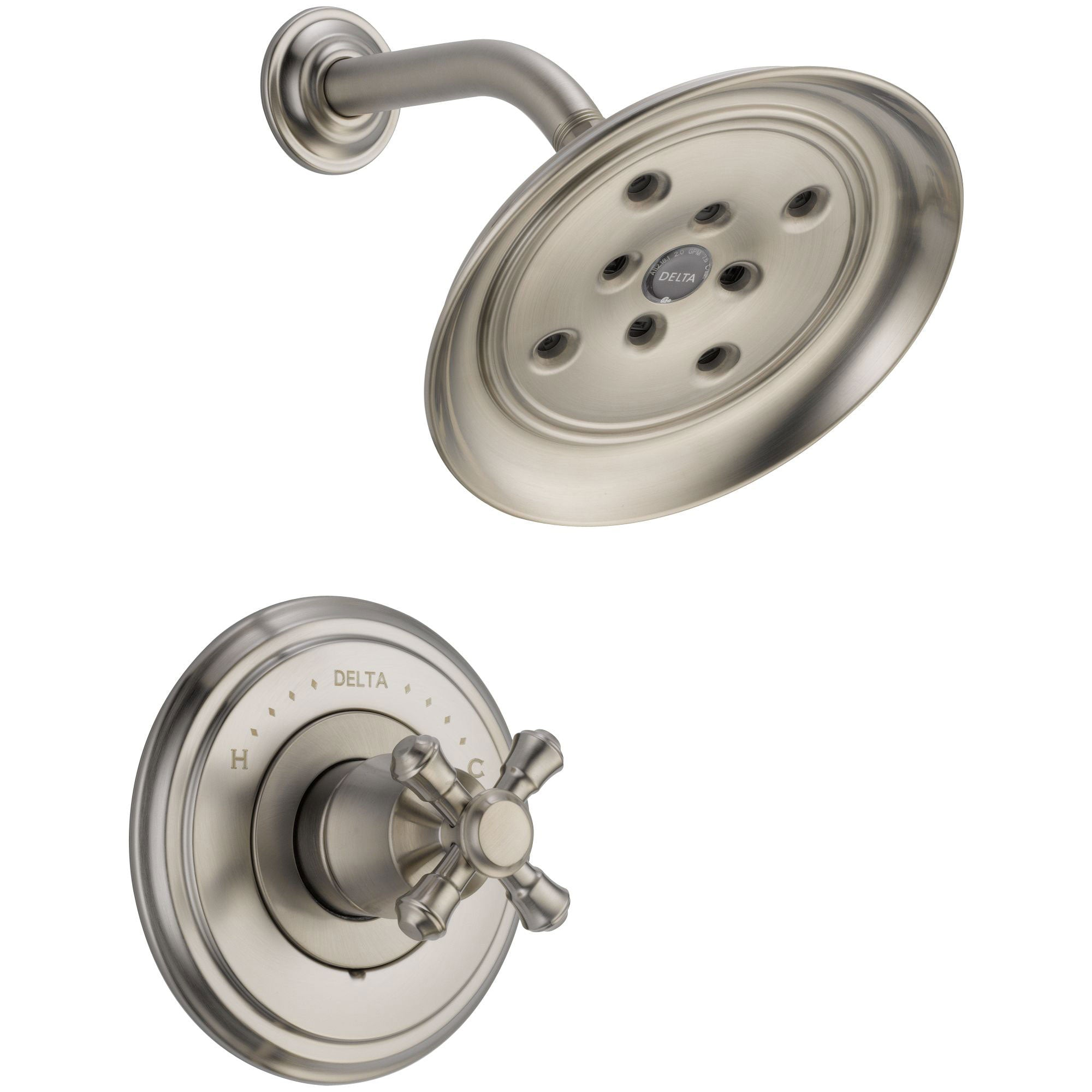 Delta Cassidy Stainless Steel Finish 14 Series Shower Only Faucet INCLUDES Rough-in Valve with Stops and Single Cross Handle D1221V