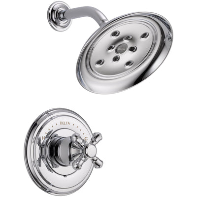 Delta Cassidy Chrome Finish 14 Series Shower Only Faucet INCLUDES Rough-in Valve and Single Cross Handle D1224V