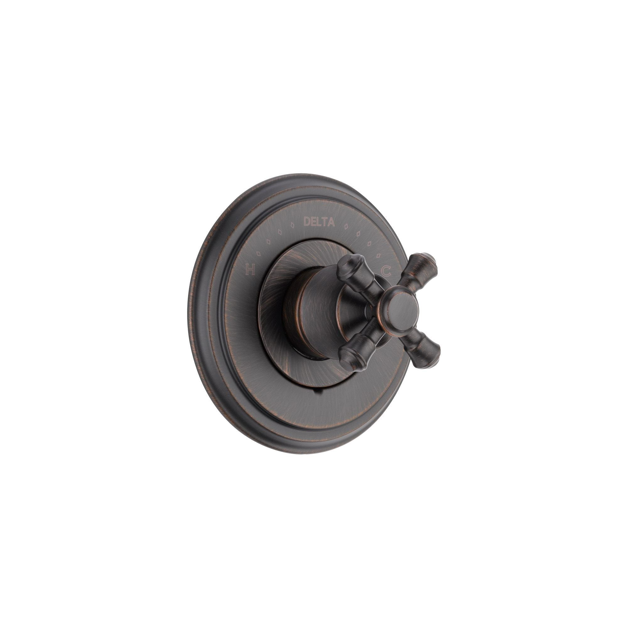 Delta Cassidy Monitor 14 Series Venetian Bronze Finish Pressure Balanced Shower Faucet Control INCLUDES Rough-in Valve with Stops and Single Cross Handle D1247V