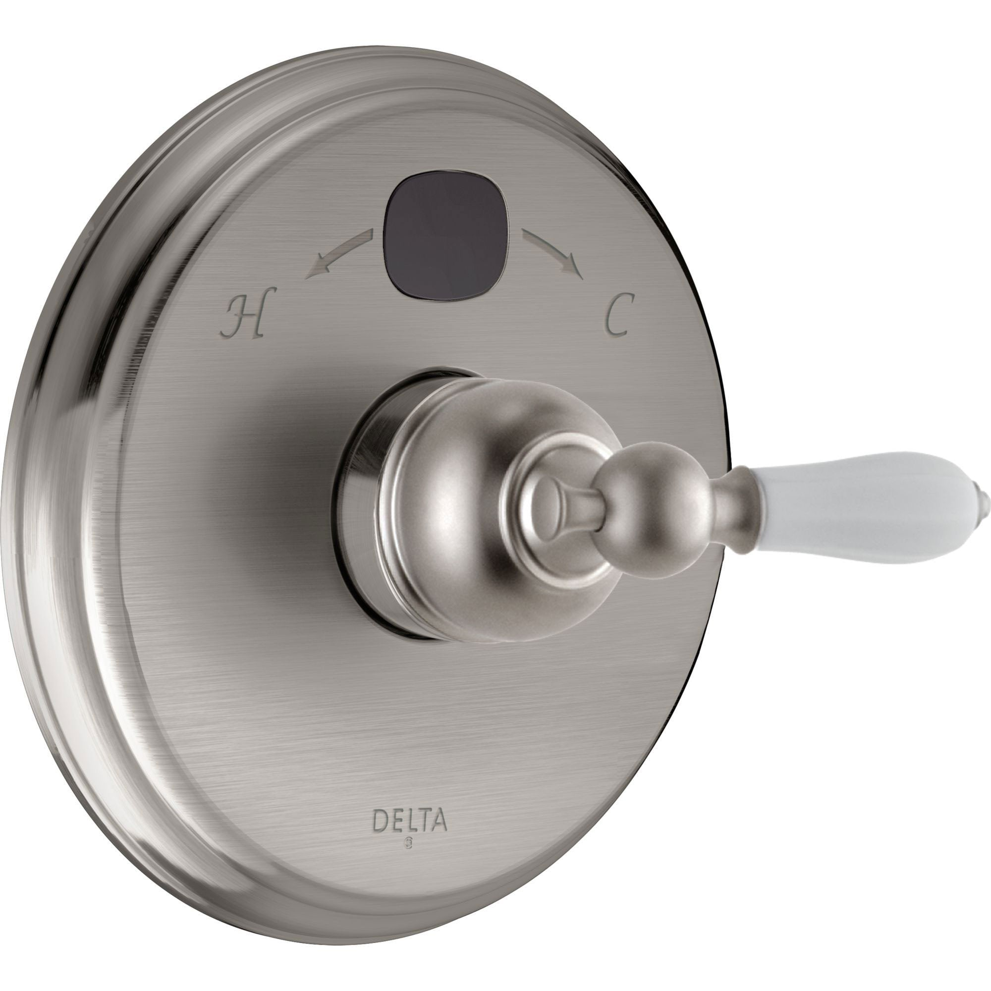 Delta Traditional 14 Series Temp2O Stainless Steel Finish Pressure Balanced Shower Faucet Control with Digital Display INCLUDES Rough-in Valve with Stops and White Porcelain Lever Handle D1273V