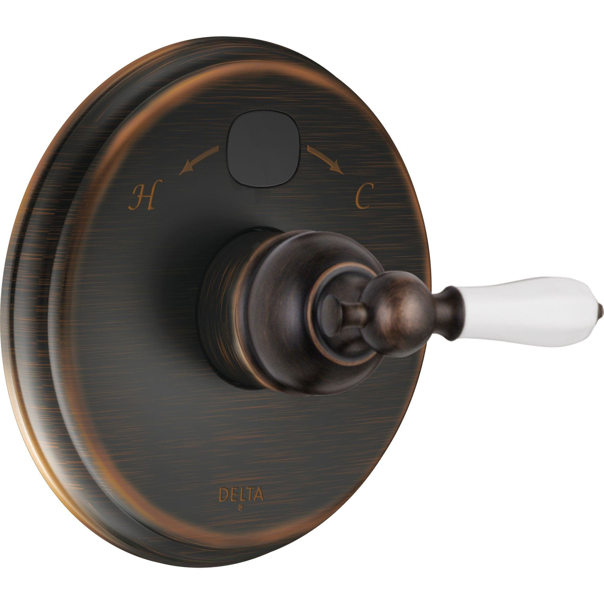 Delta Traditional 14 Series Temp2O Venetian Bronze Finish Pressure Balanced Shower Faucet Control with Digital Display INCLUDES Rough-in Valve with Stops and White Porcelain Lever Handle D1279V