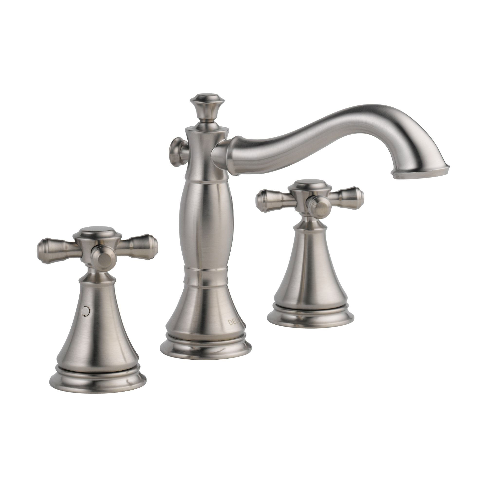 Delta Cassidy Stainless Steel Finish Wide Spread Lavatory Bathroom Sink Faucet INCLUDES Two Cross Handles and Matching Metal Pop-Up Drain D1304V