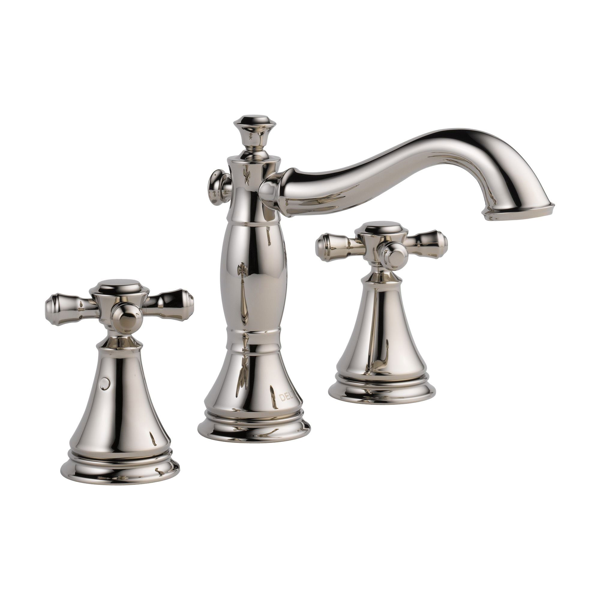 Delta Cassidy Polished Nickel Finish Wide Spread Lavatory Bathroom Sink Faucet INCLUDES Two Cross Handles and Matching Metal Pop-Up Drain D1307V