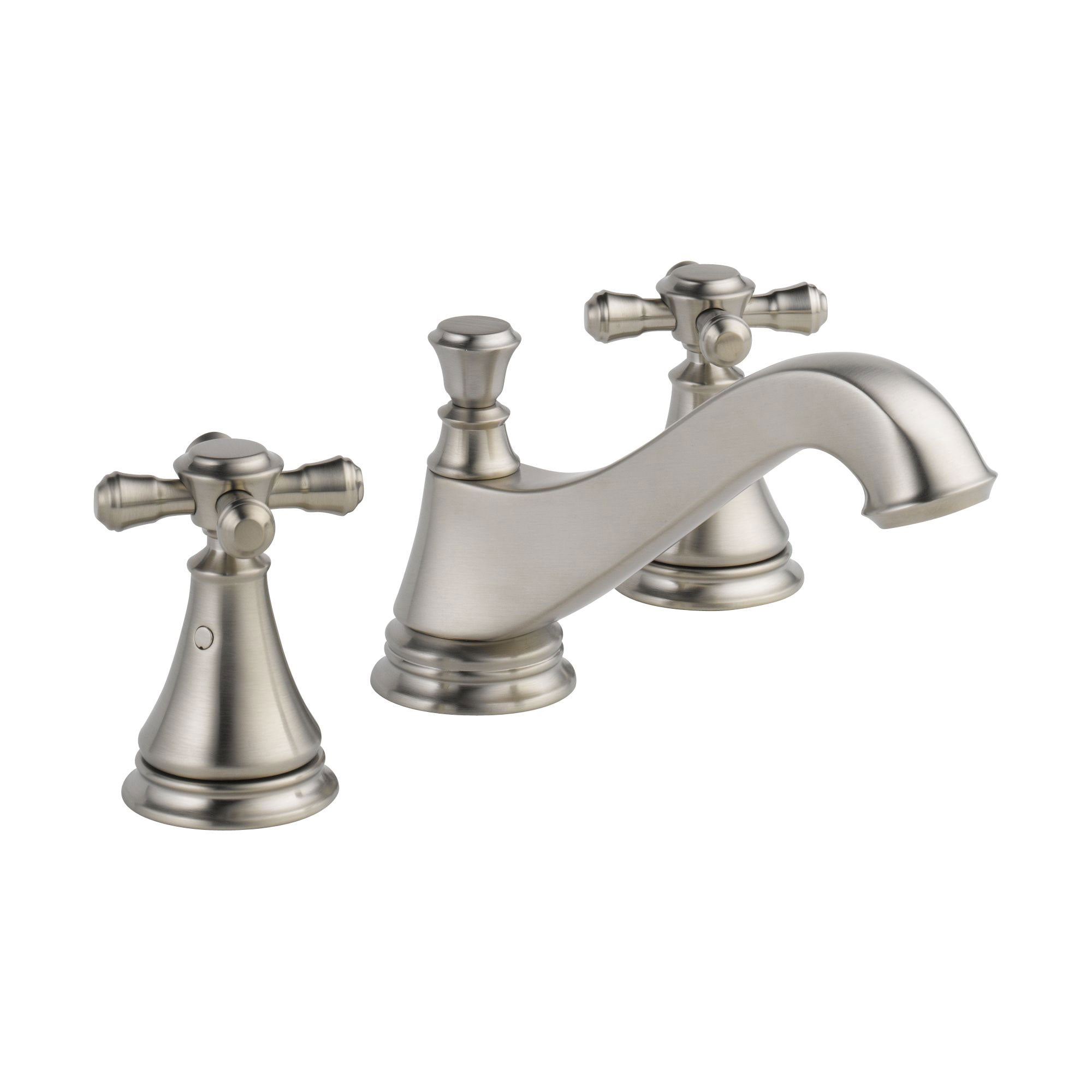 Delta Cassidy Stainless Steel Finish Widespread Lavatory Low Arc Spout Bathroom Sink Faucet INCLUDES Two Cross Handles and Matching Metal Pop-Up Drain D1309V