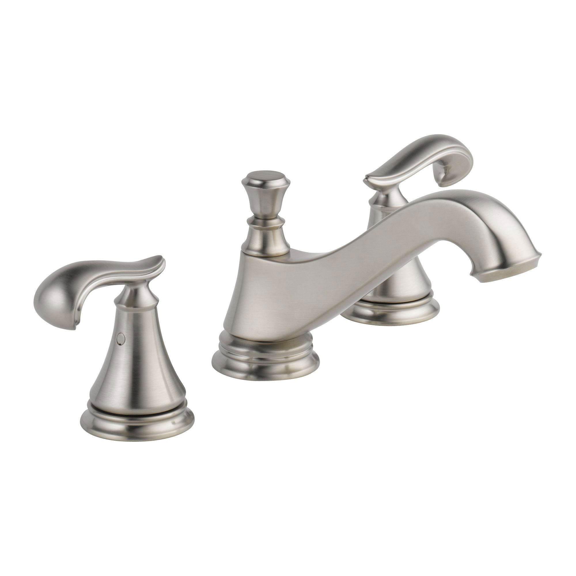 Delta Cassidy Stainless Steel Finish Widespread Lavatory Low Arc Spout Bathroom Sink Faucet INCLUDES Two French Curve Lever Handles and Matching Metal Pop-Up Drain D1310V