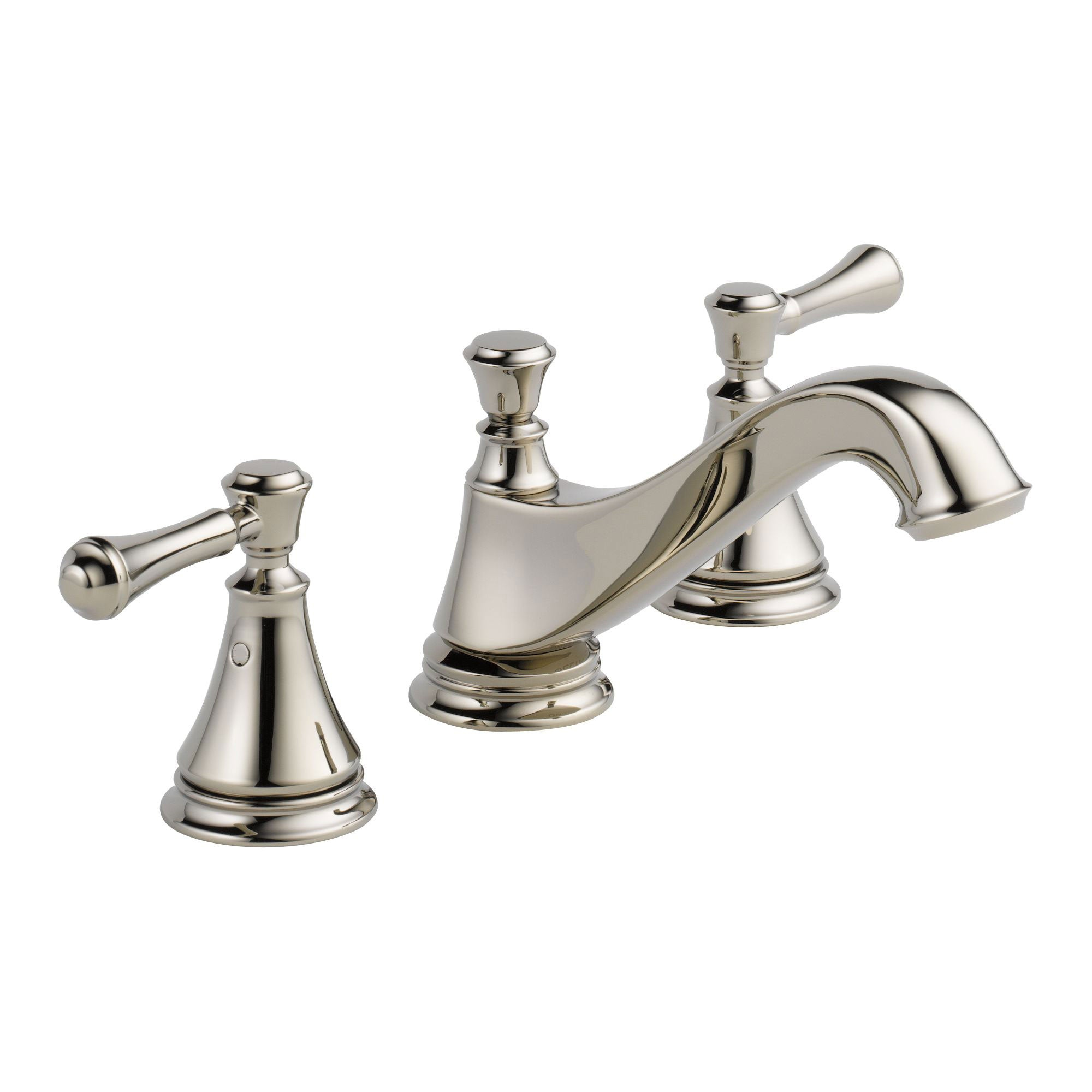 Delta Cassidy Polished Nickel Finish Widespread Lavatory Low Arc Spout Bathroom Sink Faucet INCLUDES Two Lever Handles and Matching Metal Pop-Up Drain D1315V