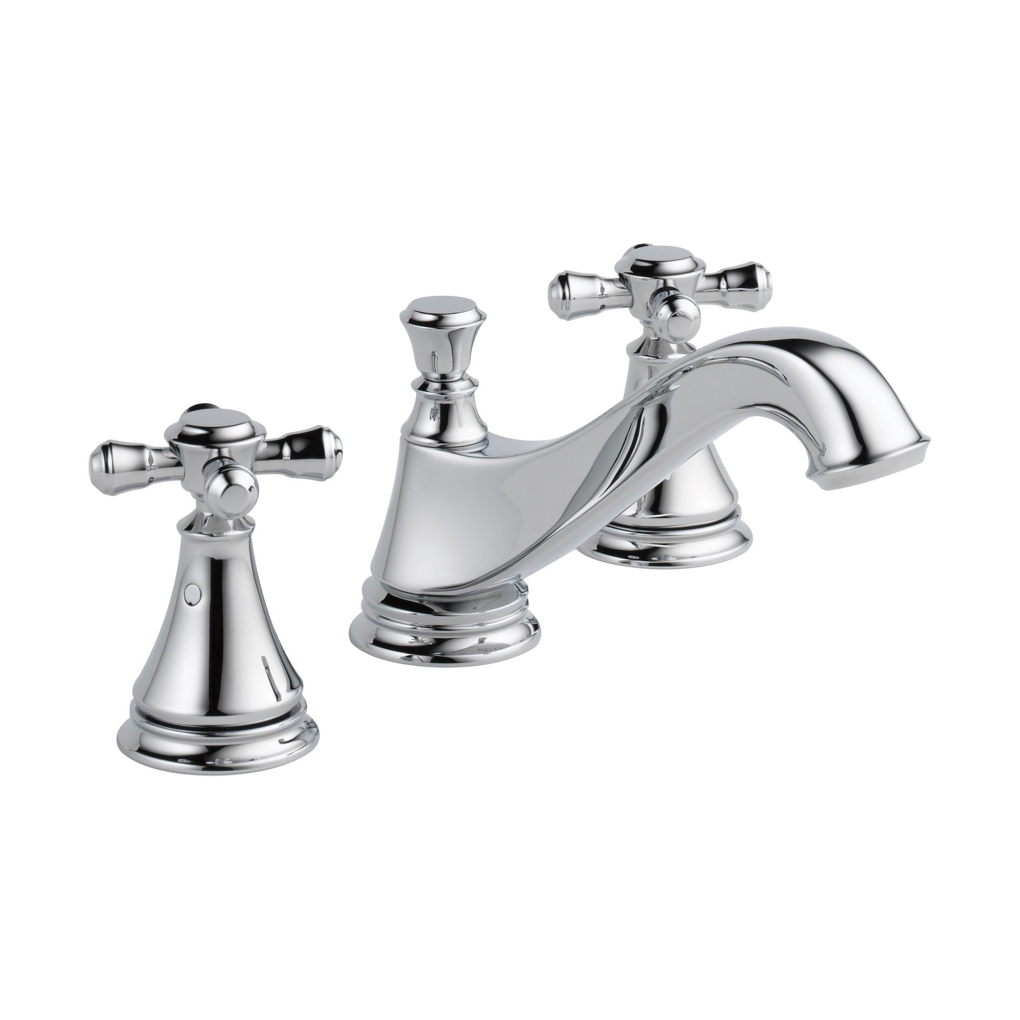 Delta Cassidy Chrome Finish Widespread Lavatory Low Arc Spout Bathroom Sink Faucet INCLUDES Two Cross Handles and Matching Metal Pop-Up Drain D1316V