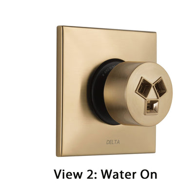 Delta Champagne Bronze Finish HydraChoice Invigorating H2Okinetic Square Shower System Body Spray COMPLETE Includes Valve, Trim, and Spray D1367V
