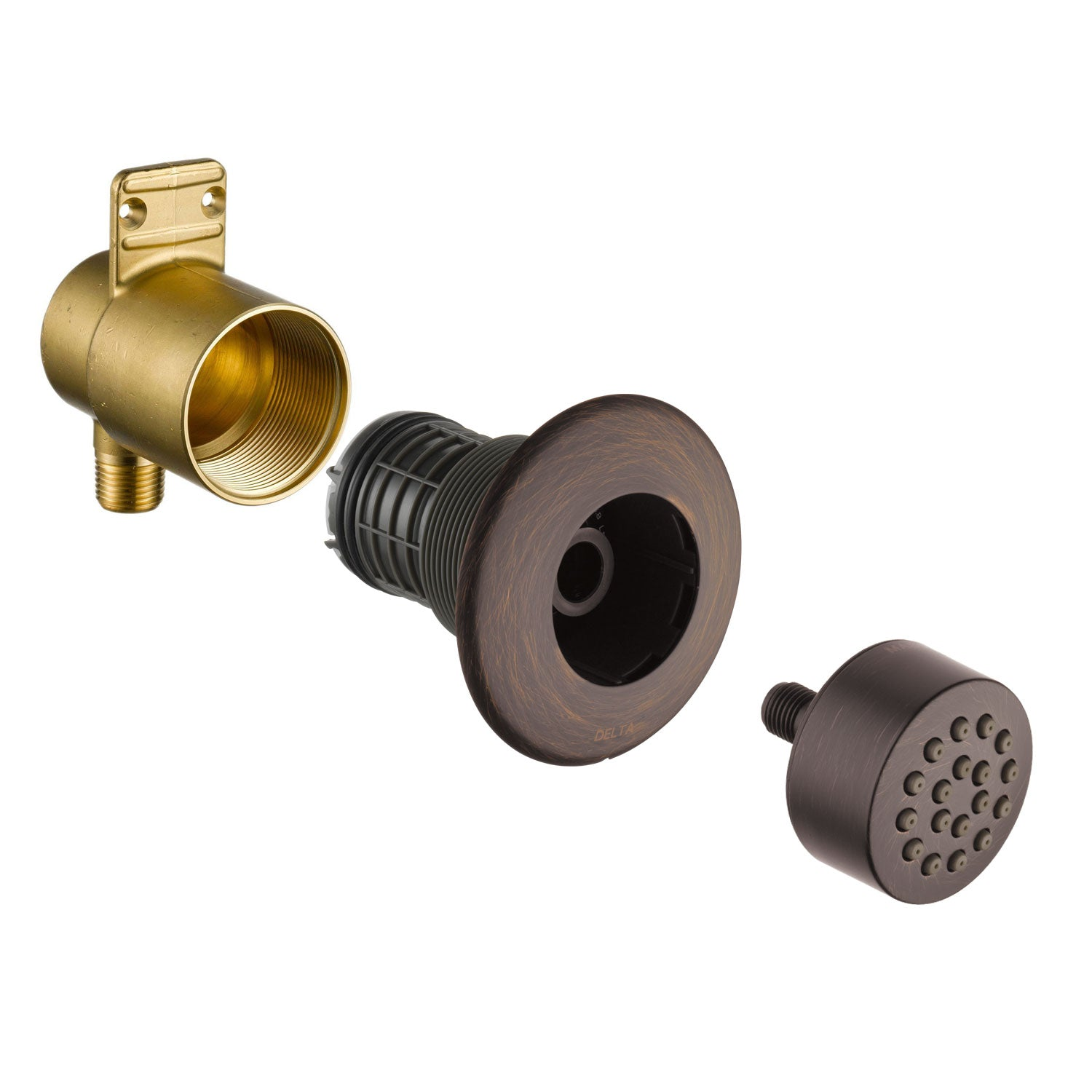 Delta Venetian Bronze Finish HydraChoice Touch Clean Round Shower System Body Spray COMPLETE Includes Valve, Trim, and Spray D1374V