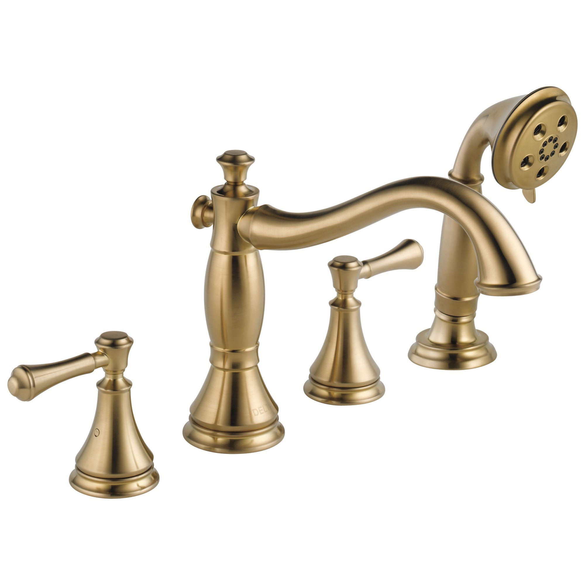 Delta Cassidy Collection Champagne Bronze Finish Roman Tub Filler Faucet with Hand Shower INCLUDES (2) Lever Handles and Rough-in Valve D1404V