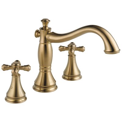 Delta Cassidy Collection Champagne Bronze Finish Roman Tub Filler Faucet COMPLETE ITEM Includes (2) Cross Handles and Rough-in Valve D1439V