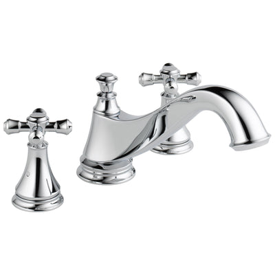 Delta Cassidy Collection Chrome Finish Traditional Spout Roman Tub Filler Faucet COMPLETE ITEM Includes (2) Cross Handles and Rough-in Valve D1451V