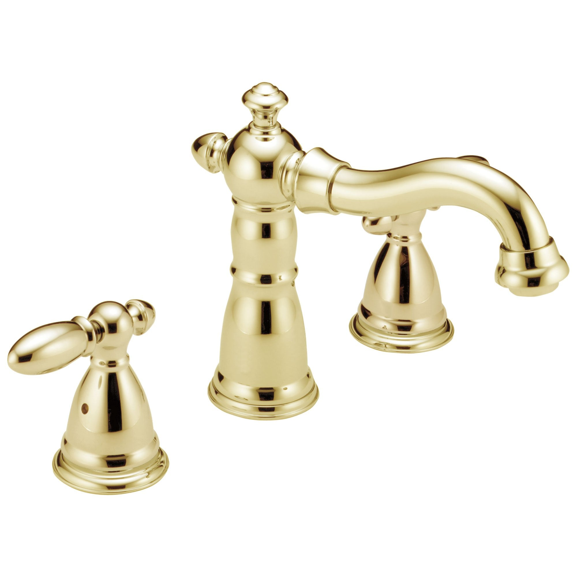 Delta Victorian Collection Polished Brass Finish Traditional Roman Tub Filler Faucet COMPLETE ITEM Includes (2) Lever Handles and Rough-in Valve D1459V
