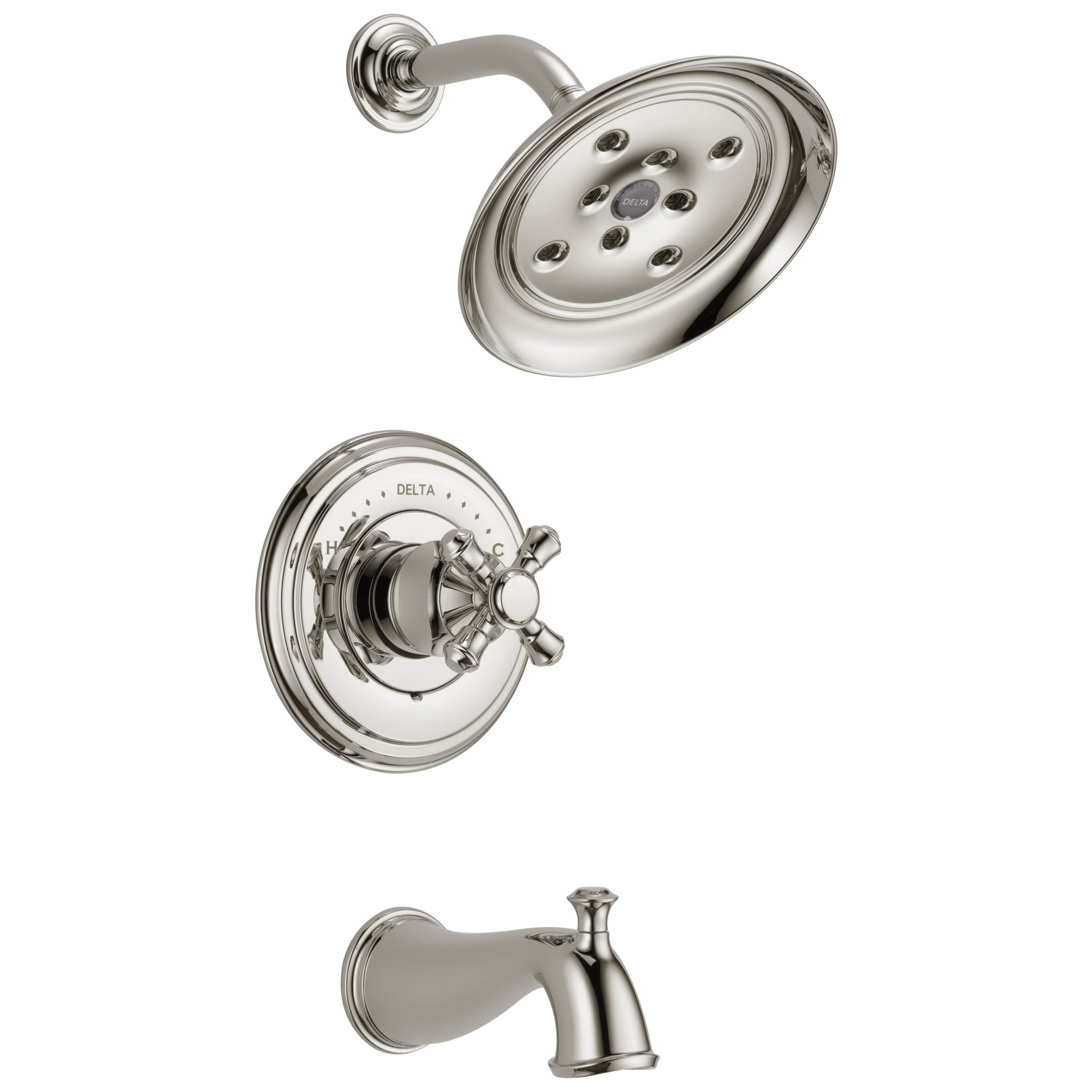 Delta Cassidy Collection Polished Nickel Monitor 14 Tub and Shower Faucet Combination INCLUDES Single Cross Handle and Rough-Valve with Stops D1479V
