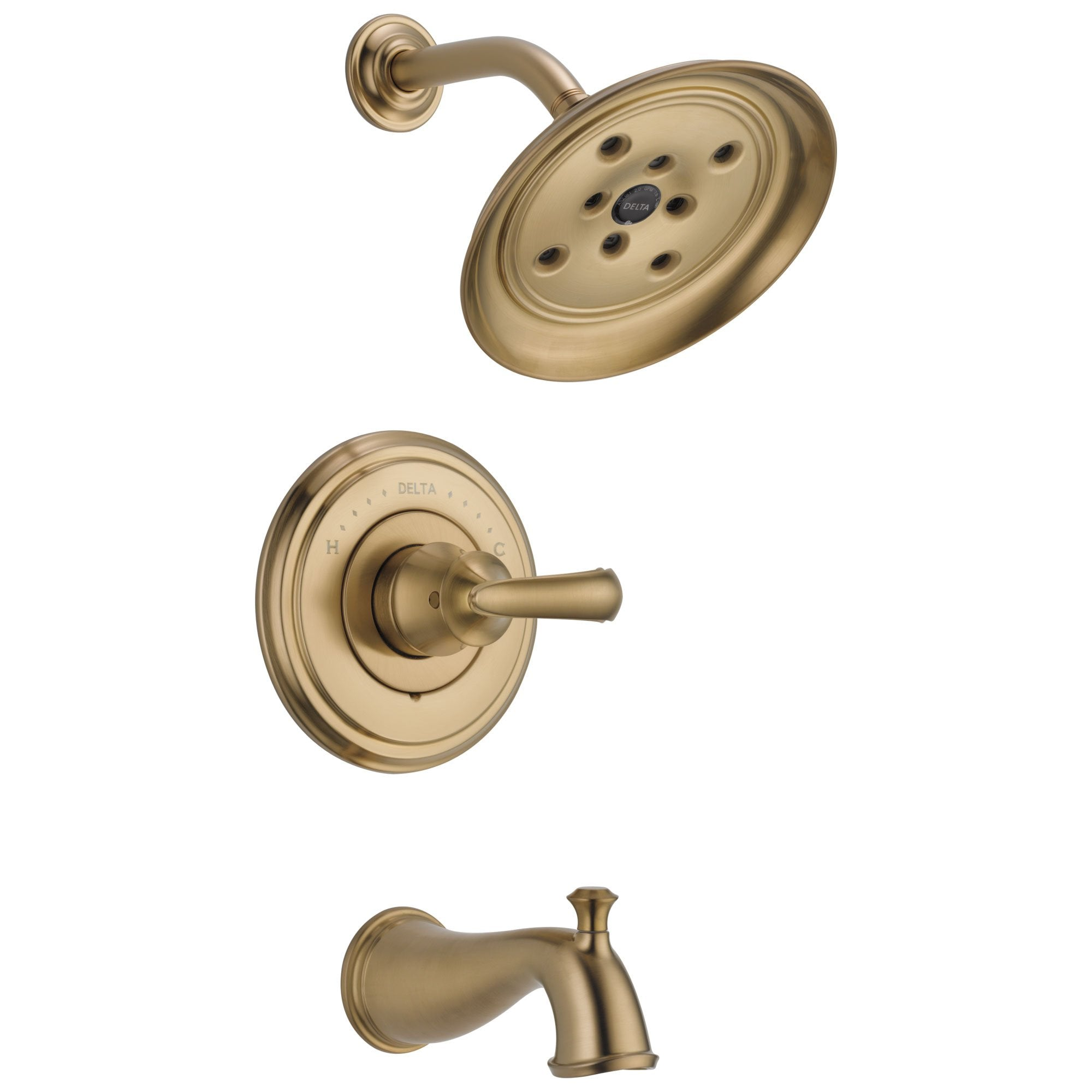 Delta Cassidy Collection Champagne Bronze Monitor 14 Tub and Shower Faucet Combination INCLUDES Single French Scroll Handle and Rough-Valve without Stops D1490V