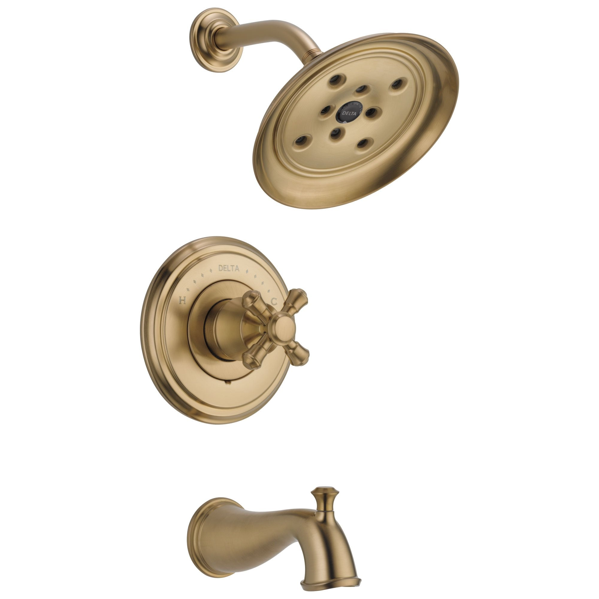 Delta Cassidy Collection Champagne Bronze Monitor 14 Tub and Shower Faucet Combination INCLUDES Single Cross Handle and Rough-Valve with Stops D1491V
