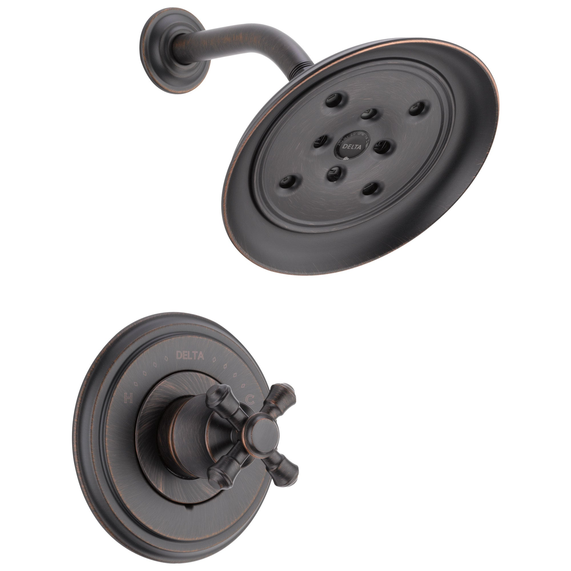 Delta Cassidy Collection Venetian Bronze Monitor 14 H2Okinetic Shower only Faucet INCLUDES Single Cross Handle and Rough-Valve without Stops D1532V