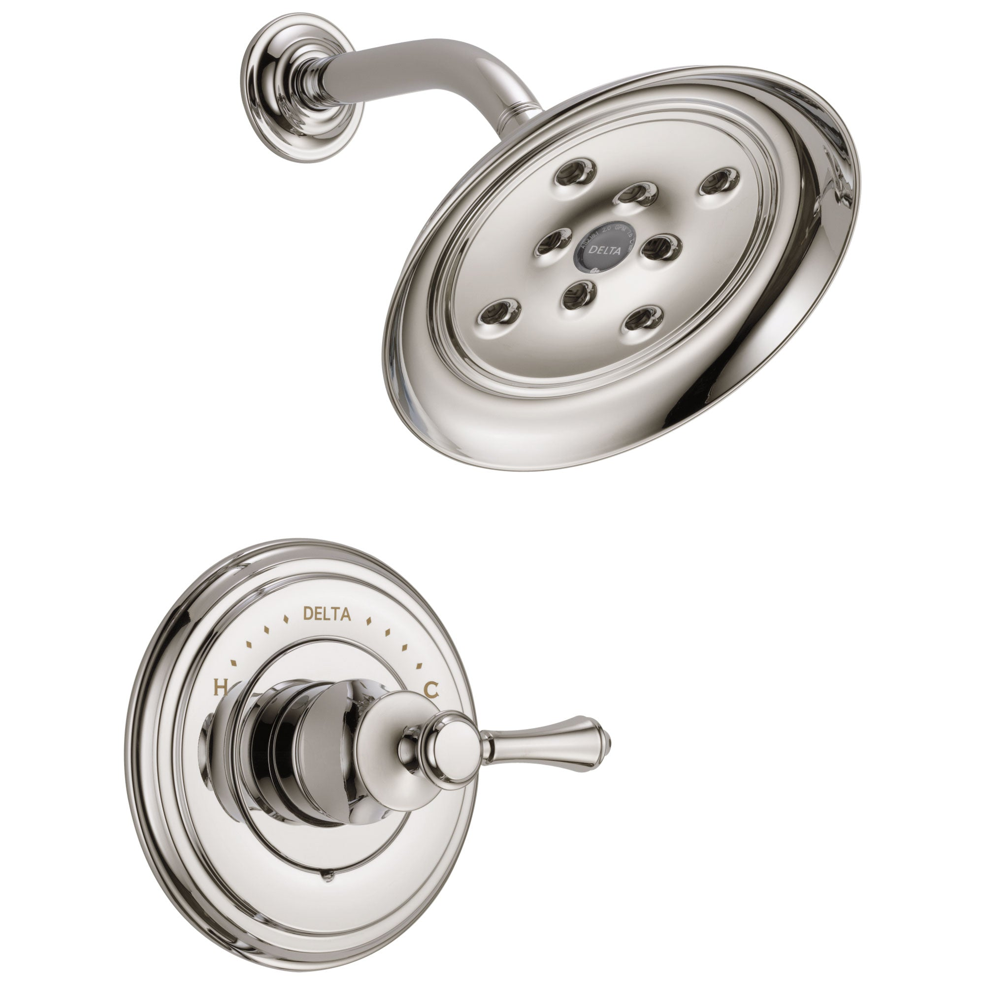 Delta Cassidy Collection Polished Nickel Monitor 14 H2Okinetic Shower only Faucet INCLUDES Single Lever Handle and Rough-Valve without Stops D1538V