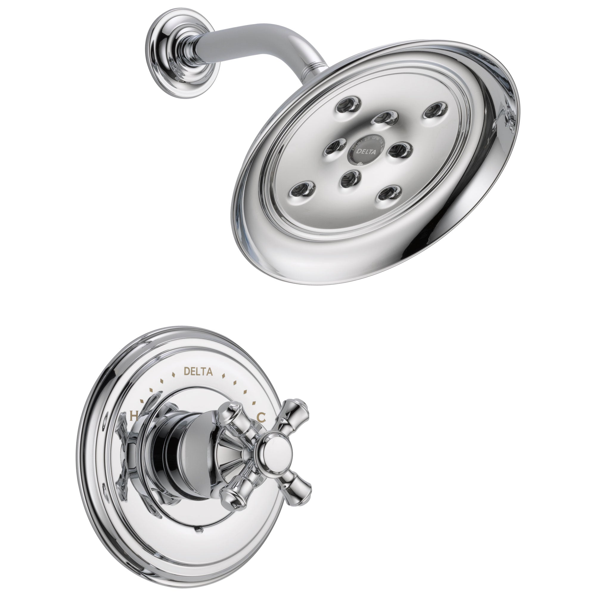 Delta Cassidy Collection Chrome Monitor 14 Series H2Okinetic Shower only Faucet INCLUDES Single Cross Handle and Rough-Valve with Stops D1545V