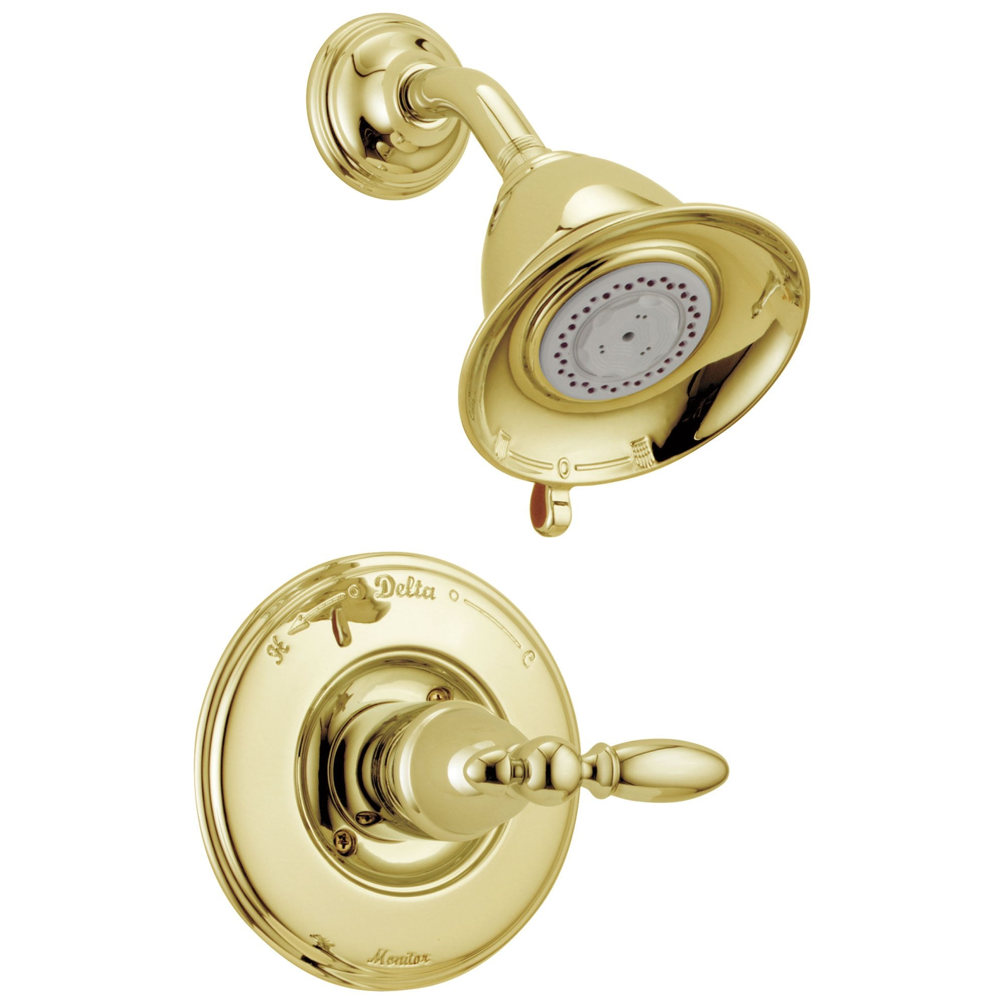 Delta Victorian Collection Polished Brass Finish Traditional Style Monitor 14 Shower Faucet INCLUDES Single Lever Handle and Rough-Valve with Stops D1566V