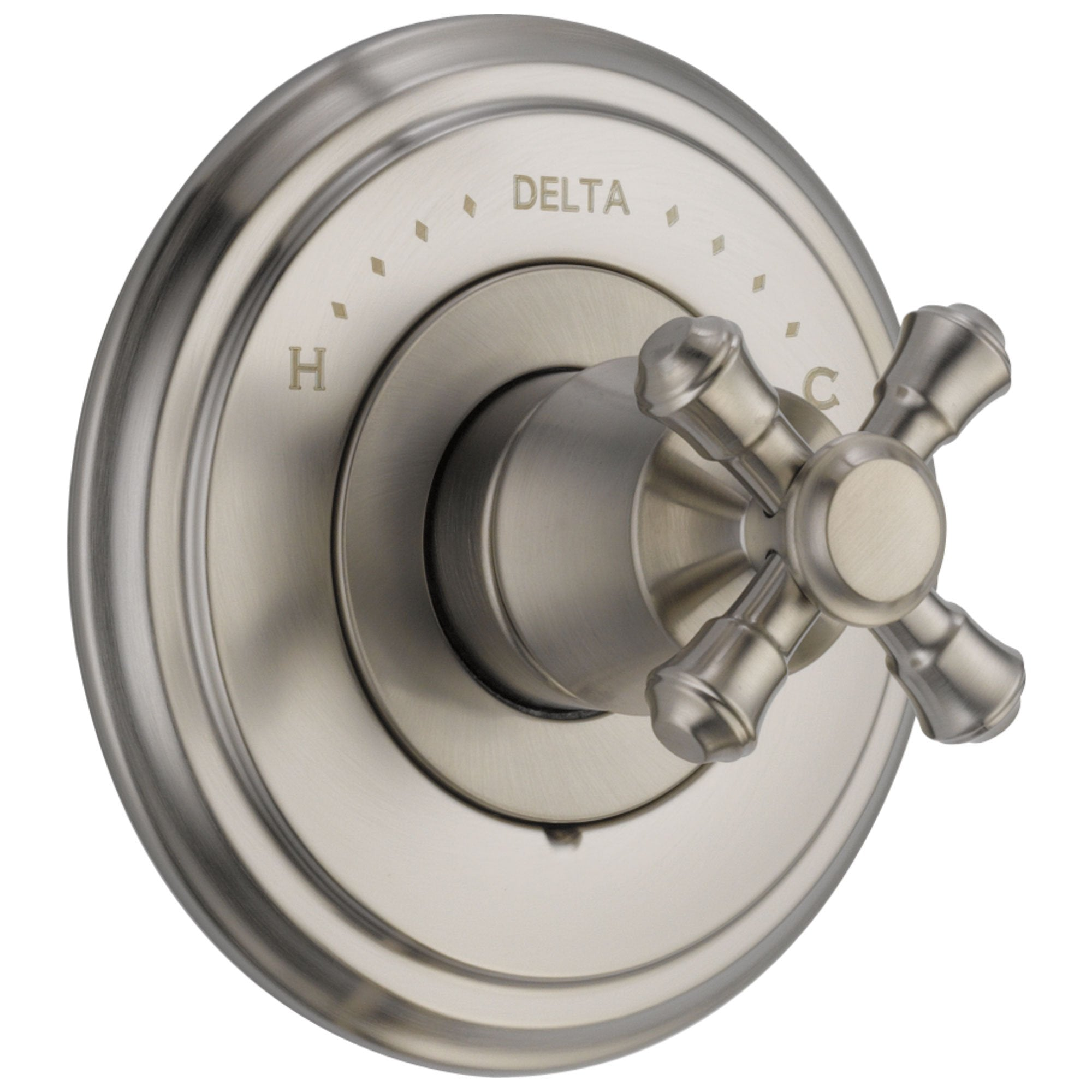 Delta Cassidy Collection Stainless Steel Finish Monitor 14 Shower Faucet Control COMPLETE ITEM with Single Cross Handle and Rough-in Valve with Stops D1589V