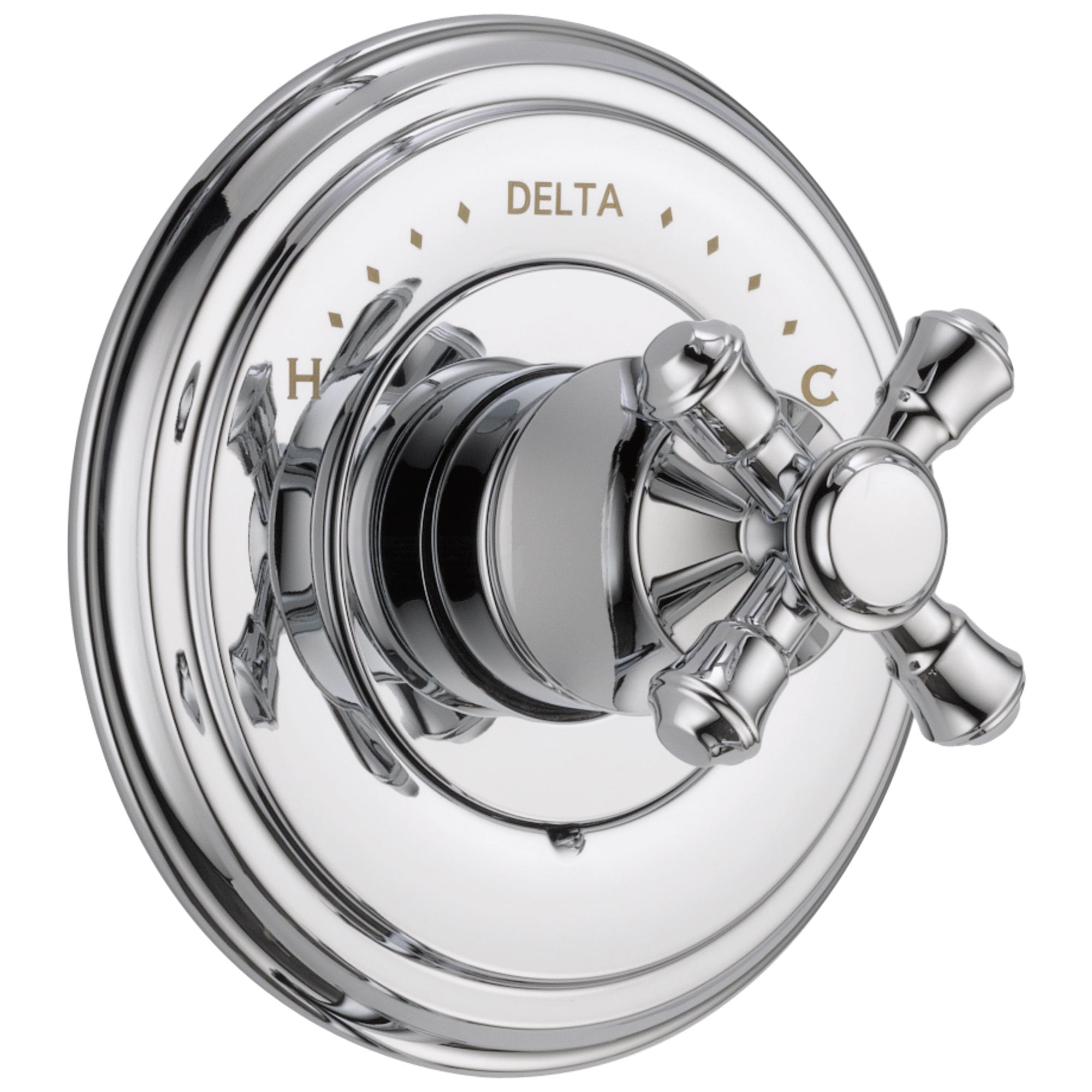 Delta Cassidy Collection Chrome Finish Monitor 14 Series Shower Faucet Control Complete Item With Single Cross Handle And Rough In Valve Without Stops
