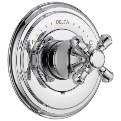 Delta Cassidy Collection Chrome Finish Monitor 14 Series Shower Faucet Control COMPLETE ITEM with Single Cross Handle and Rough-in Valve with Stops D1601V