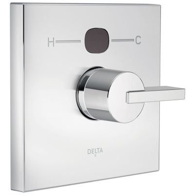 Delta Chrome Finish Vero Collection Angular Modern 14 Series Digital Display Temp2O Shower Valve Control INCLUDES Single Handle and Valve without Stops D1626V