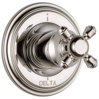 Delta Cassidy Collection Polished Nickel Finish 6-Setting 3-Port Shower Diverter INCLUDES Single Cross Handle and Rough-in Valve D1689V