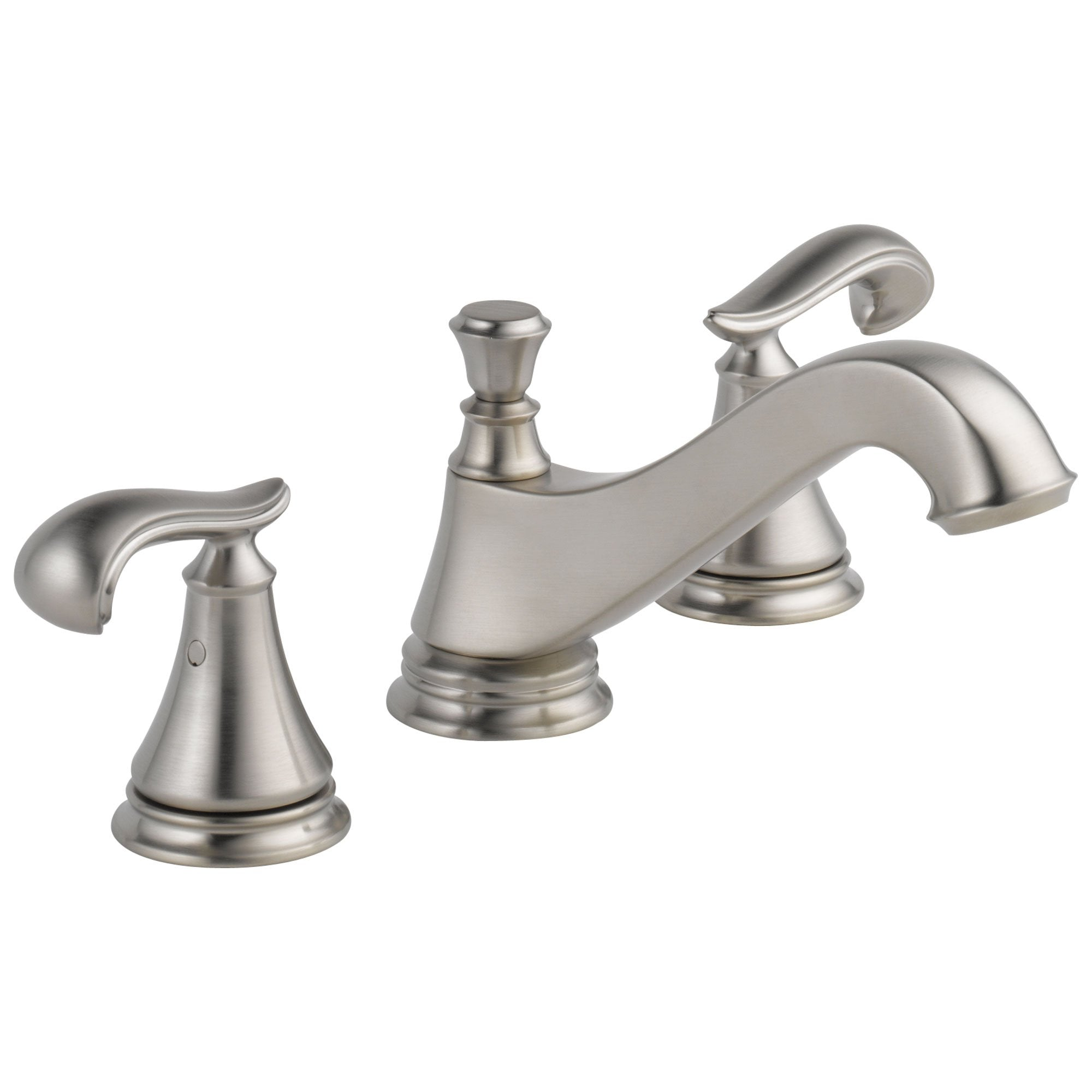 Delta Cassidy Collection Stainless Steel Finish Traditional Low Spout Widespread Lavatory Sink Faucet INCLUDES Two French Curve Lever Handles and Drain D1788V
