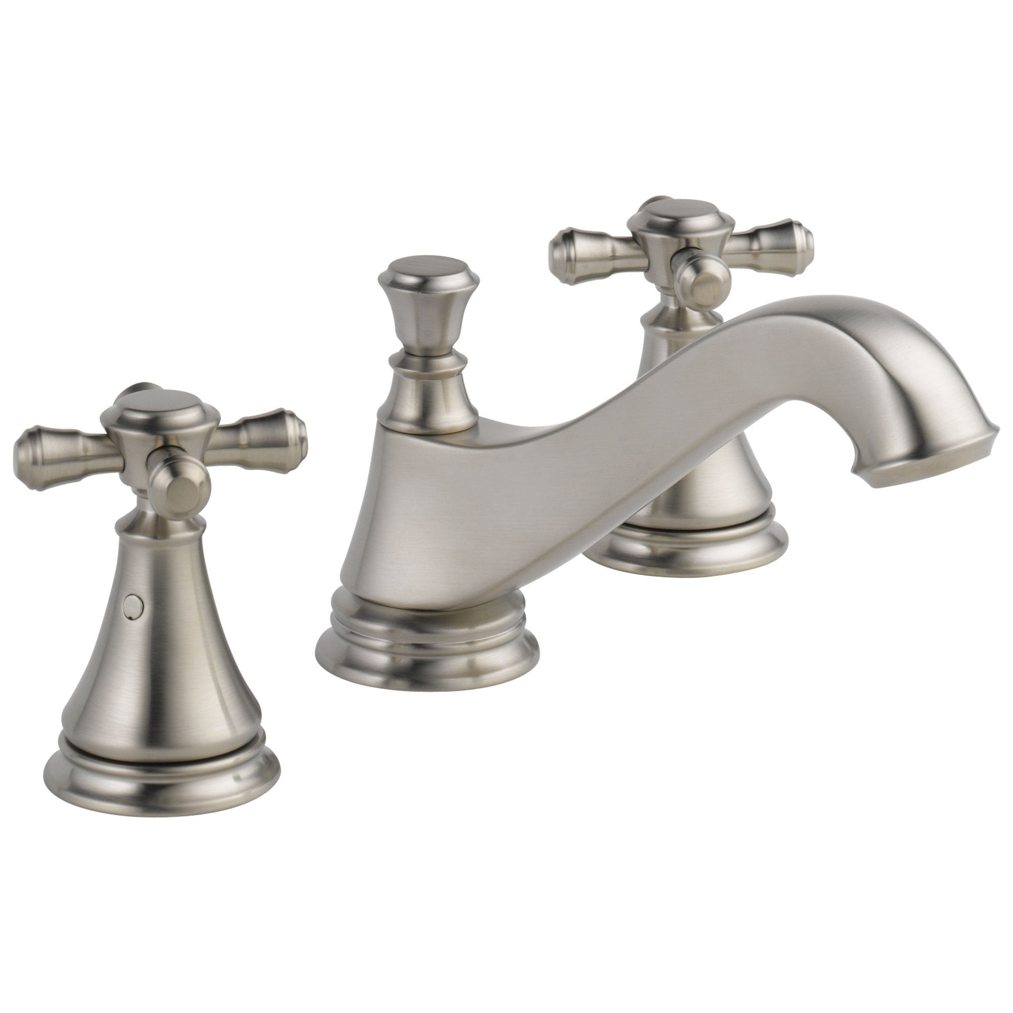 Delta Cassidy Collection Stainless Steel Finish Traditional Low Spout Widespread Lavatory Sink Faucet INCLUDES Two Cross Handles and Drain D1789V