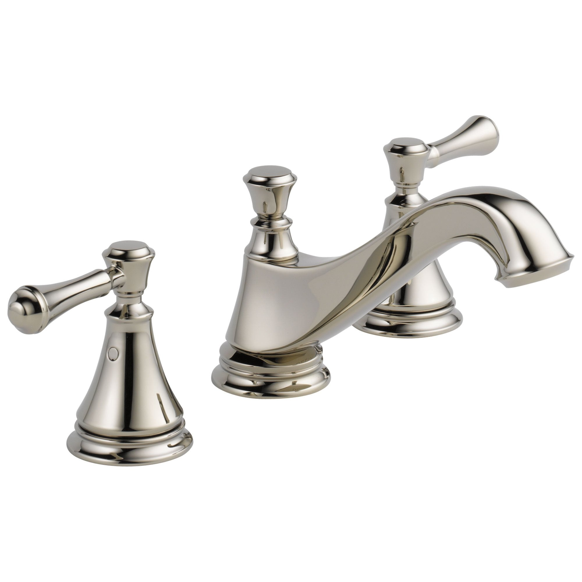 Delta Cassidy Collection Polished Nickel Traditional Low Spout Widespread Bathroom Sink Faucet INCLUDES Two Lever Handles and Drain D1793V