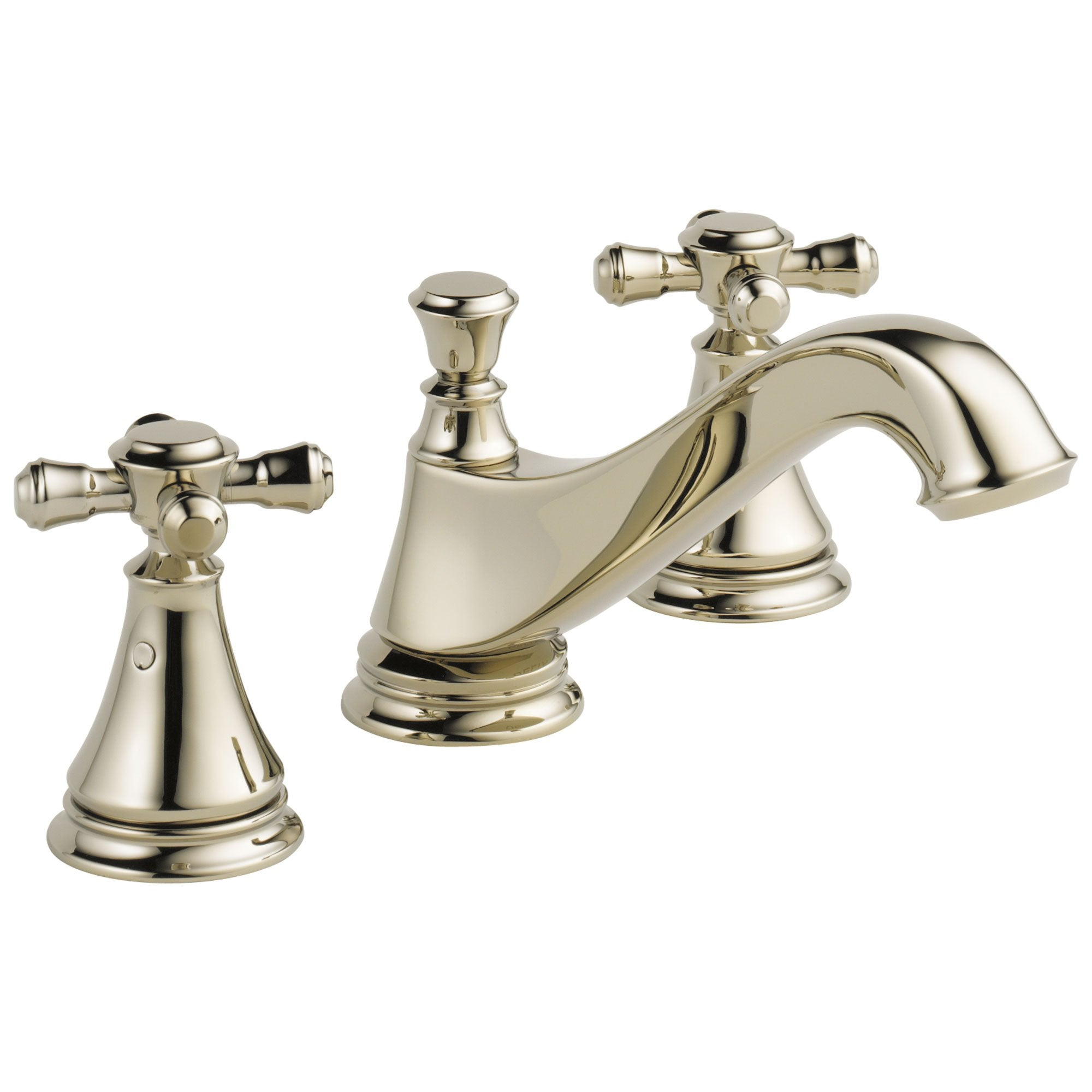 Delta Cassidy Collection Polished Nickel Traditional Low Spout Widespread Bathroom Sink Faucet INCLUDES Two Cross Handles and Drain D1795V
