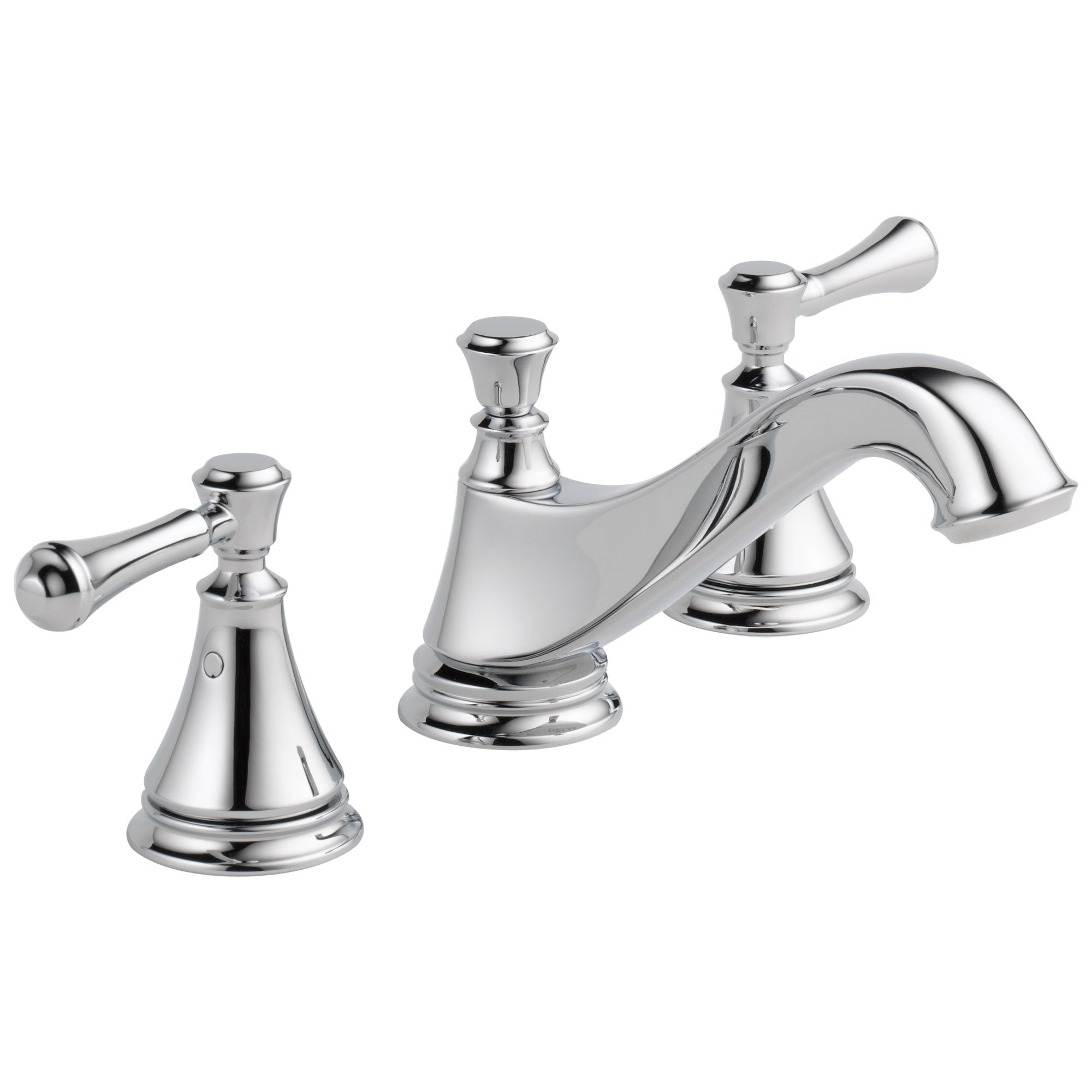 Delta Cassidy Collection Chrome Finish Traditional Low Spout Widespread Bathroom Sink Faucet INCLUDES Two Lever Handles and Drain D1796V