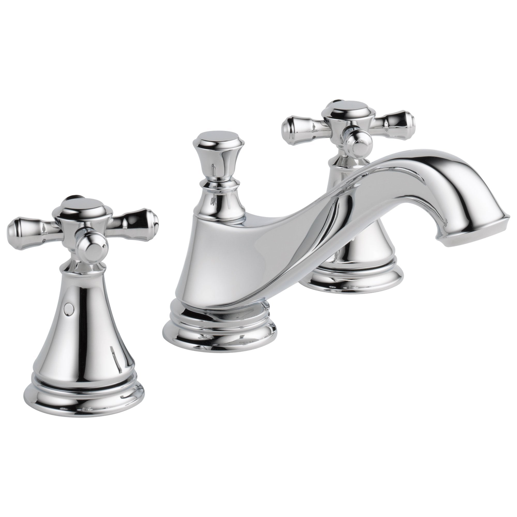 Delta Cassidy Collection Chrome Finish Traditional Low Spout Widespread Bathroom Sink Faucet INCLUDES Two Cross Handles and Drain D1798V