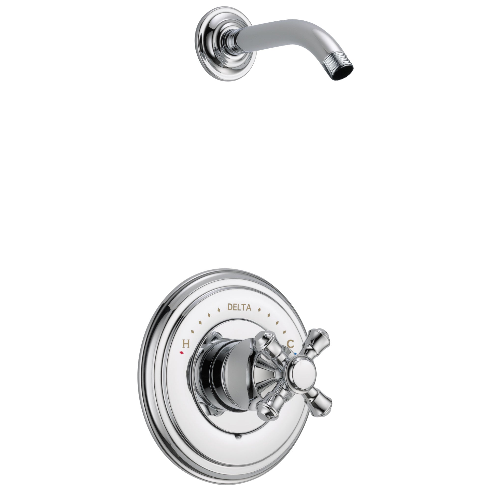Delta Cassidy Collection Chrome Monitor 14 Shower only Faucet - Less Showerhead INCLUDES Single Cross Handle and Rough-in Valve without Stops D1832V