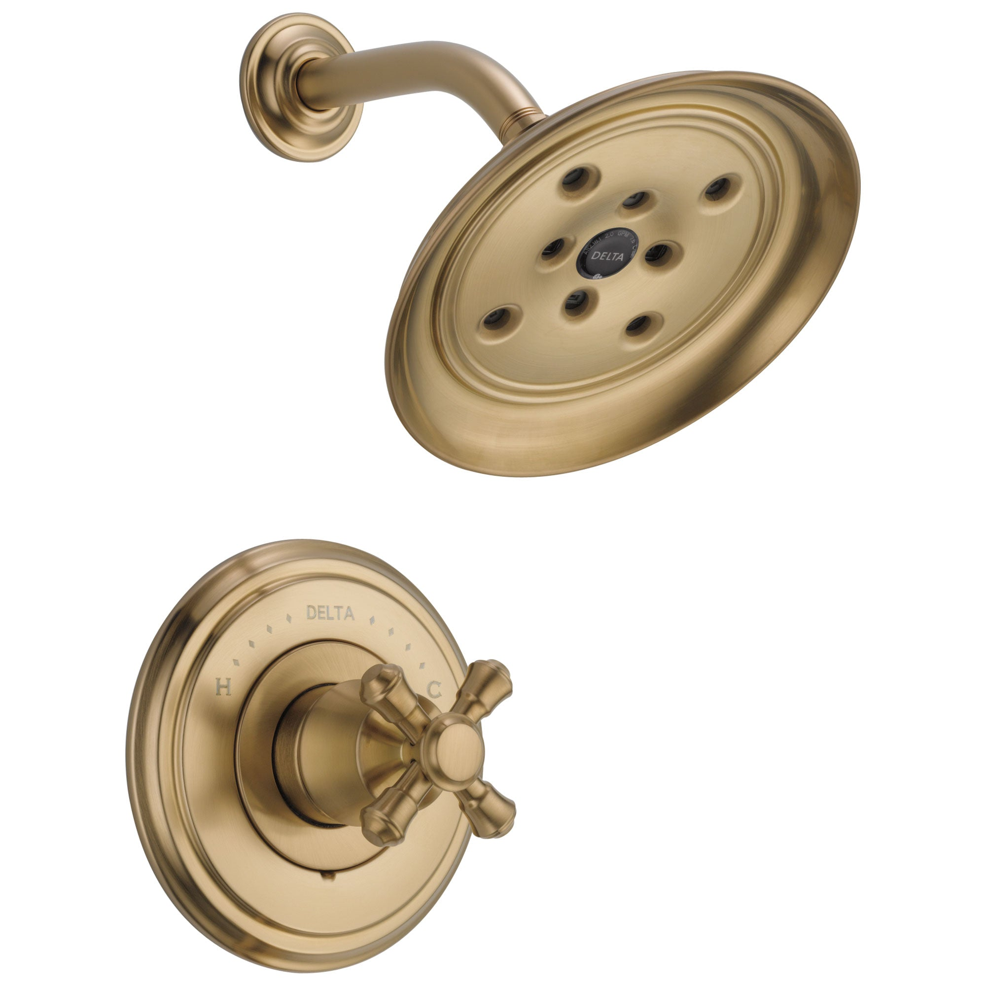 Delta Cassidy Collection Champagne Bronze Monitor 14 Watersense Shower only Faucet INCLUDES Single Cross Handle and Rough-in Valve with Stops D1841V